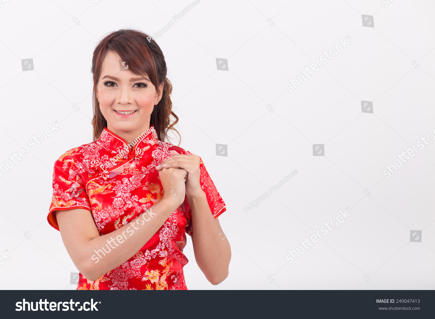 Asian girl greeting traditional chinese welcome stock photo edit asian girl greeting in traditional chinese welcome guest new year m4hsunfo