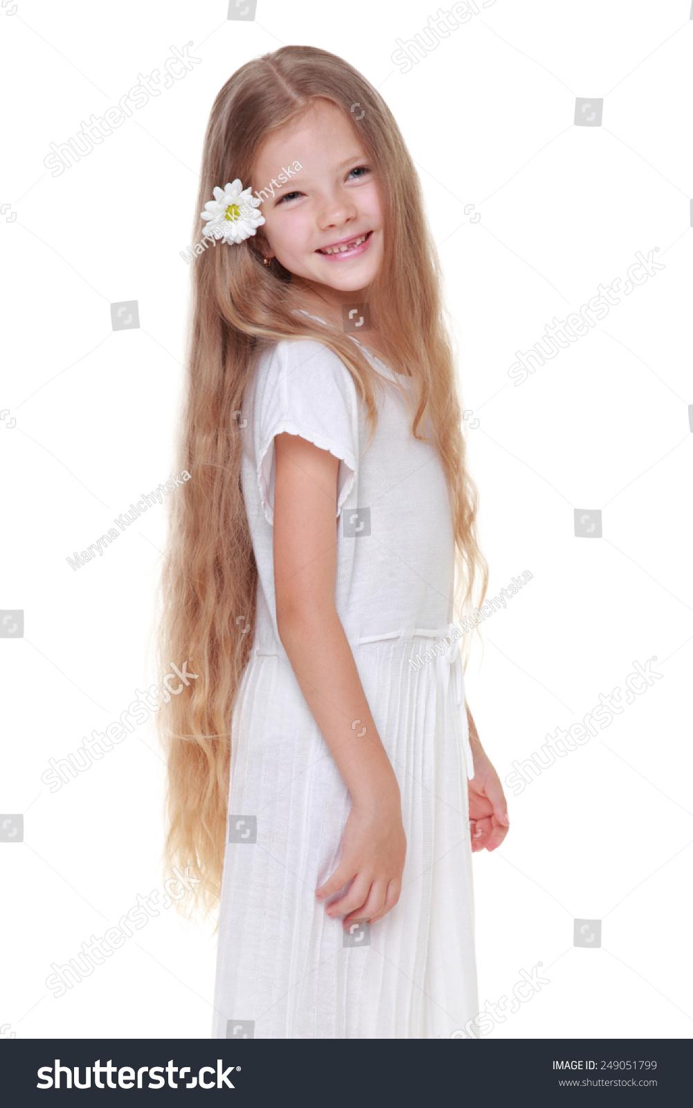 Beautiful Little Girl Cute Haircut White Stock Photo Edit Now