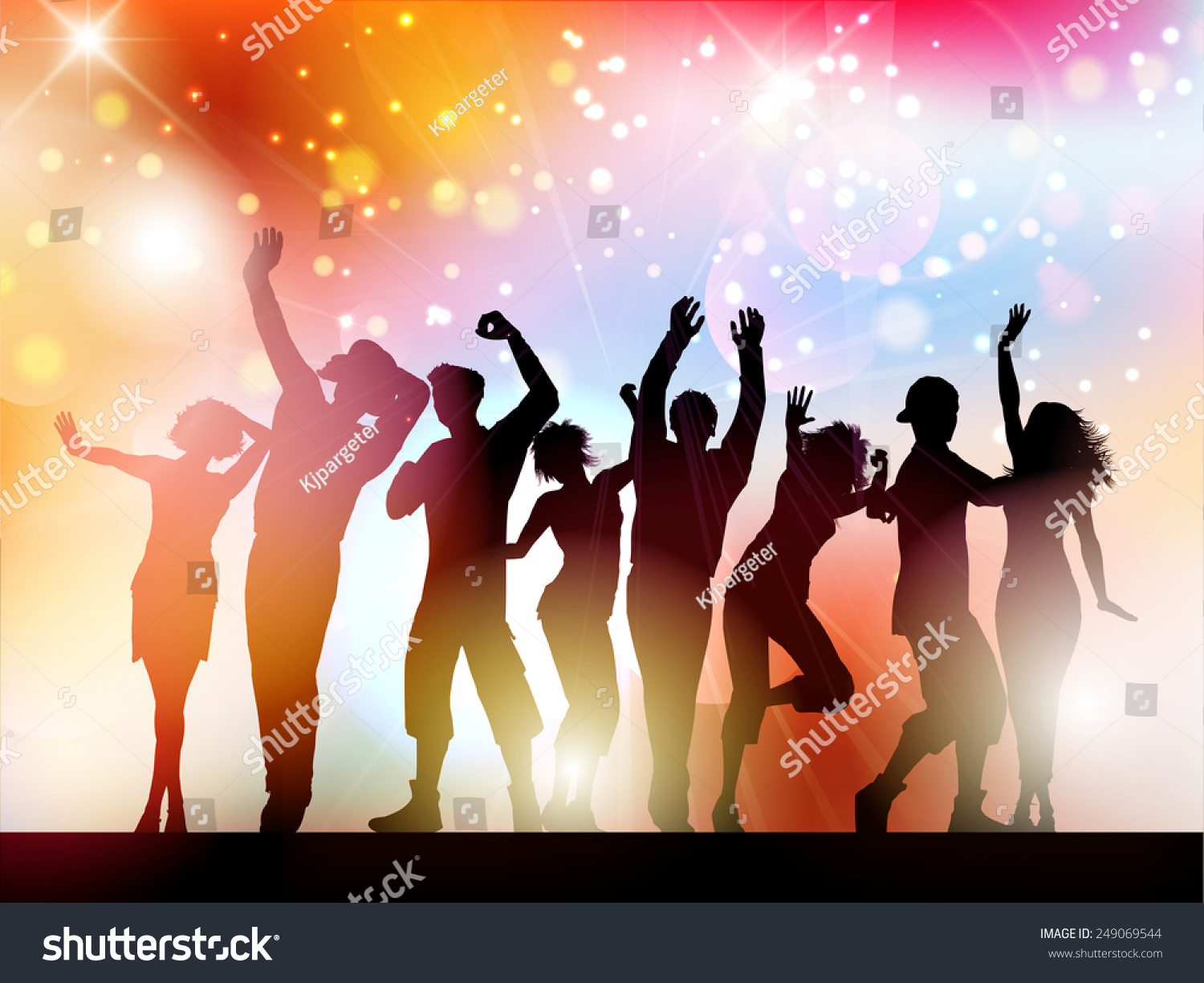 Silhouette Dance Music Abstract Background: Silhouettes Of People Dancing On An Abstract Lights