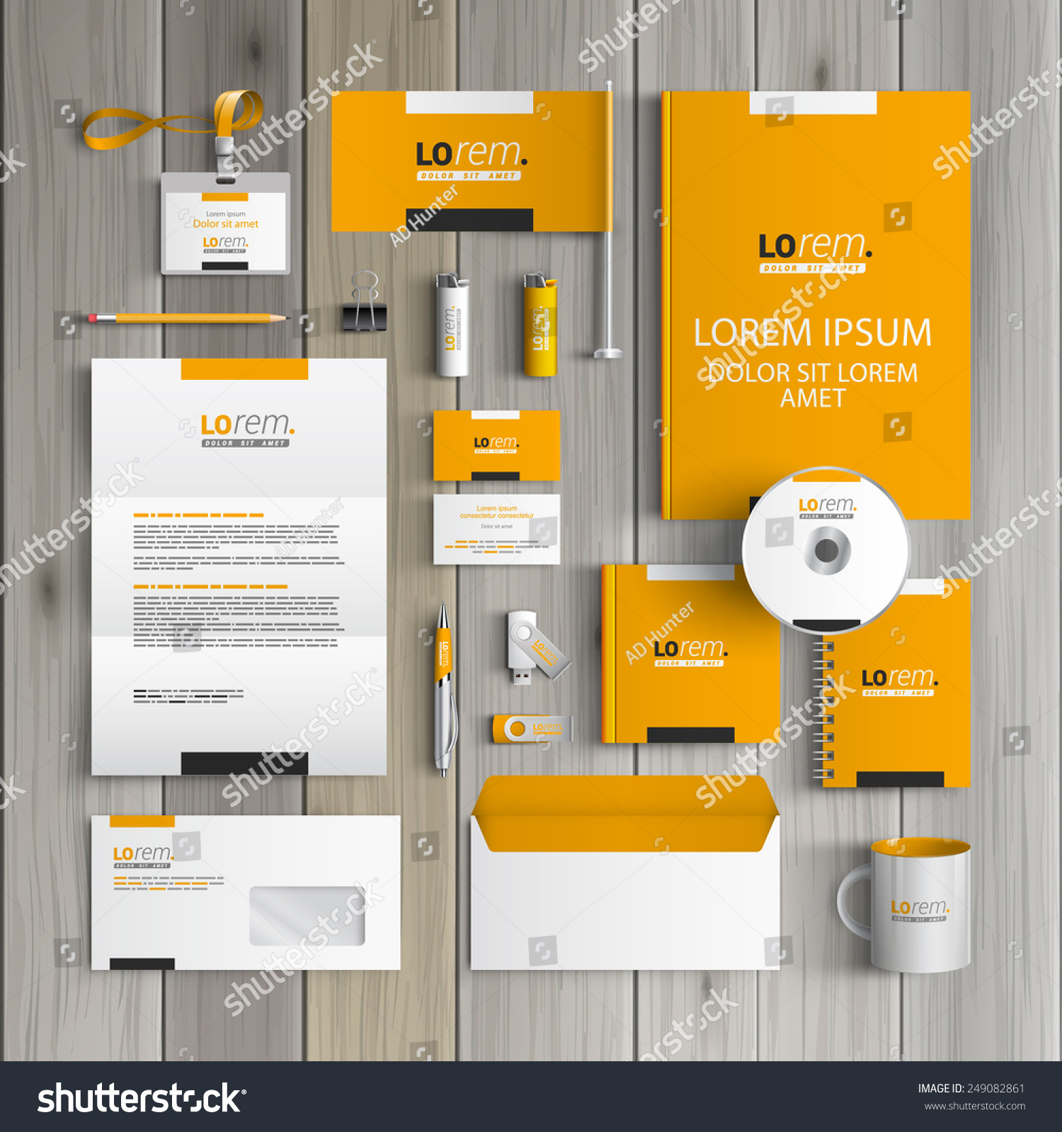 Blank Stationery And Corporate Identity Template Consist: Yellow Classic Corporate Identity Template Design With