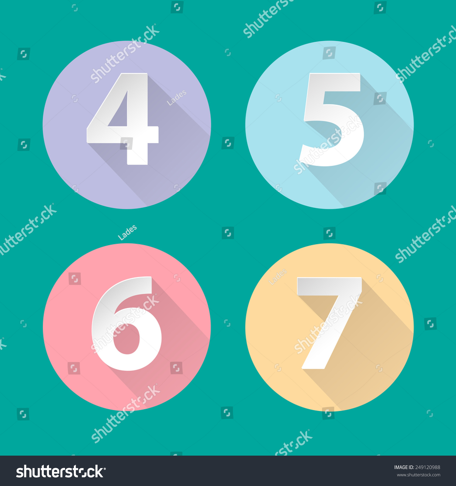 Long Flat Shadow Pastel Colors Icons Stock Vector (Royalty Free ...