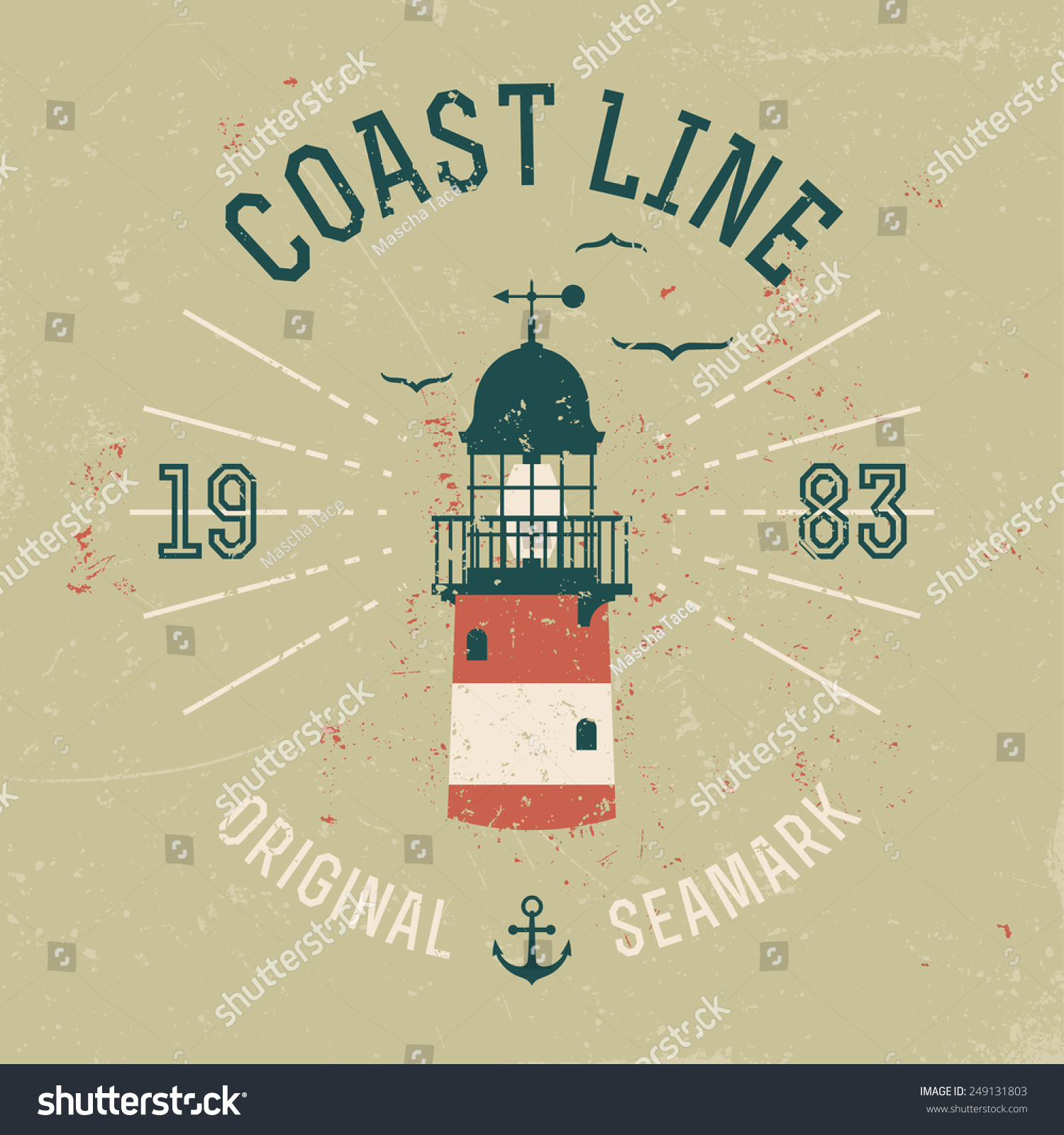 Vector Retro Style Weathered Coast Line Stock Vector (Royalty Free ...