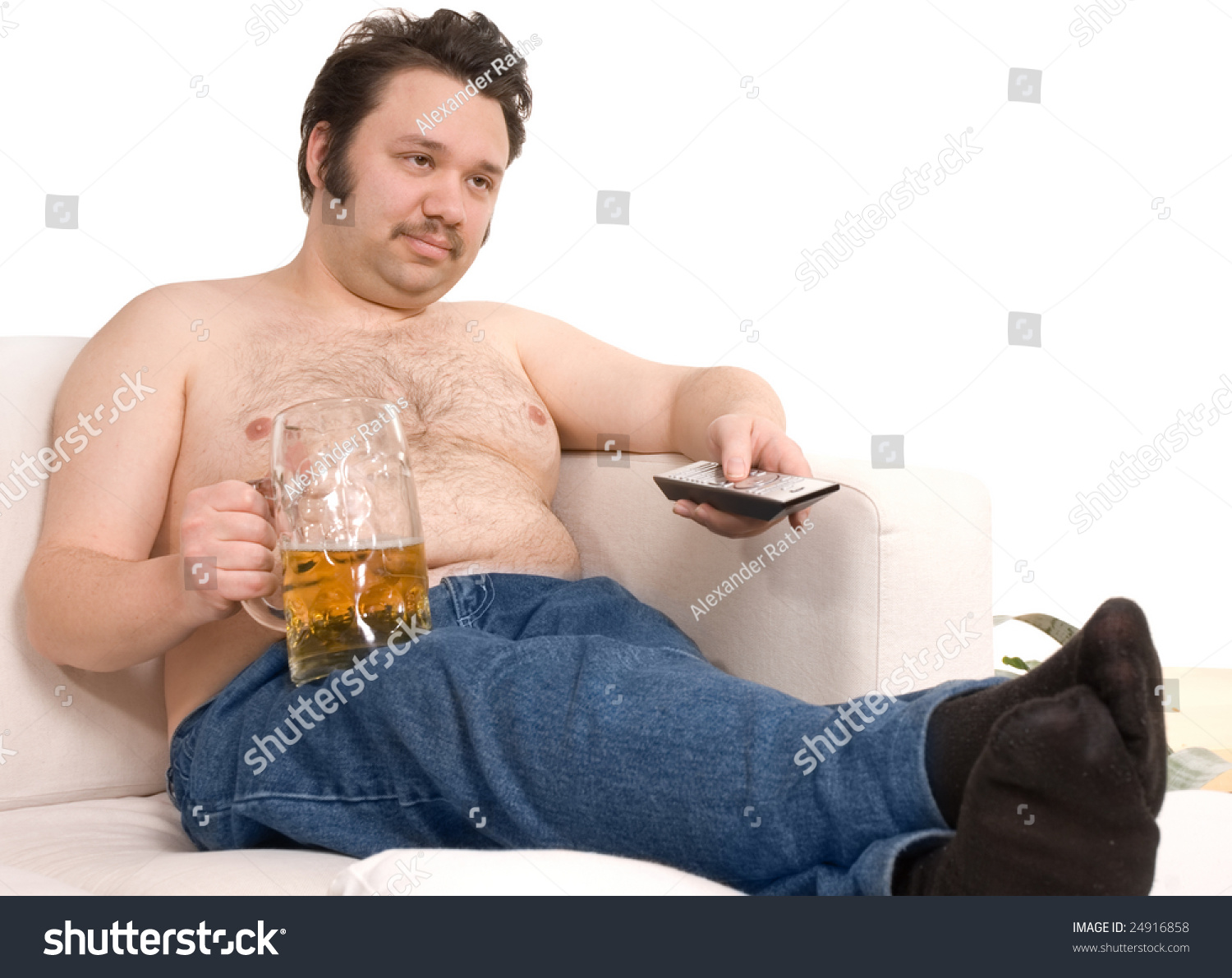 Royalty-free Overweight man sitting on the couch… #24916858 Stock ...