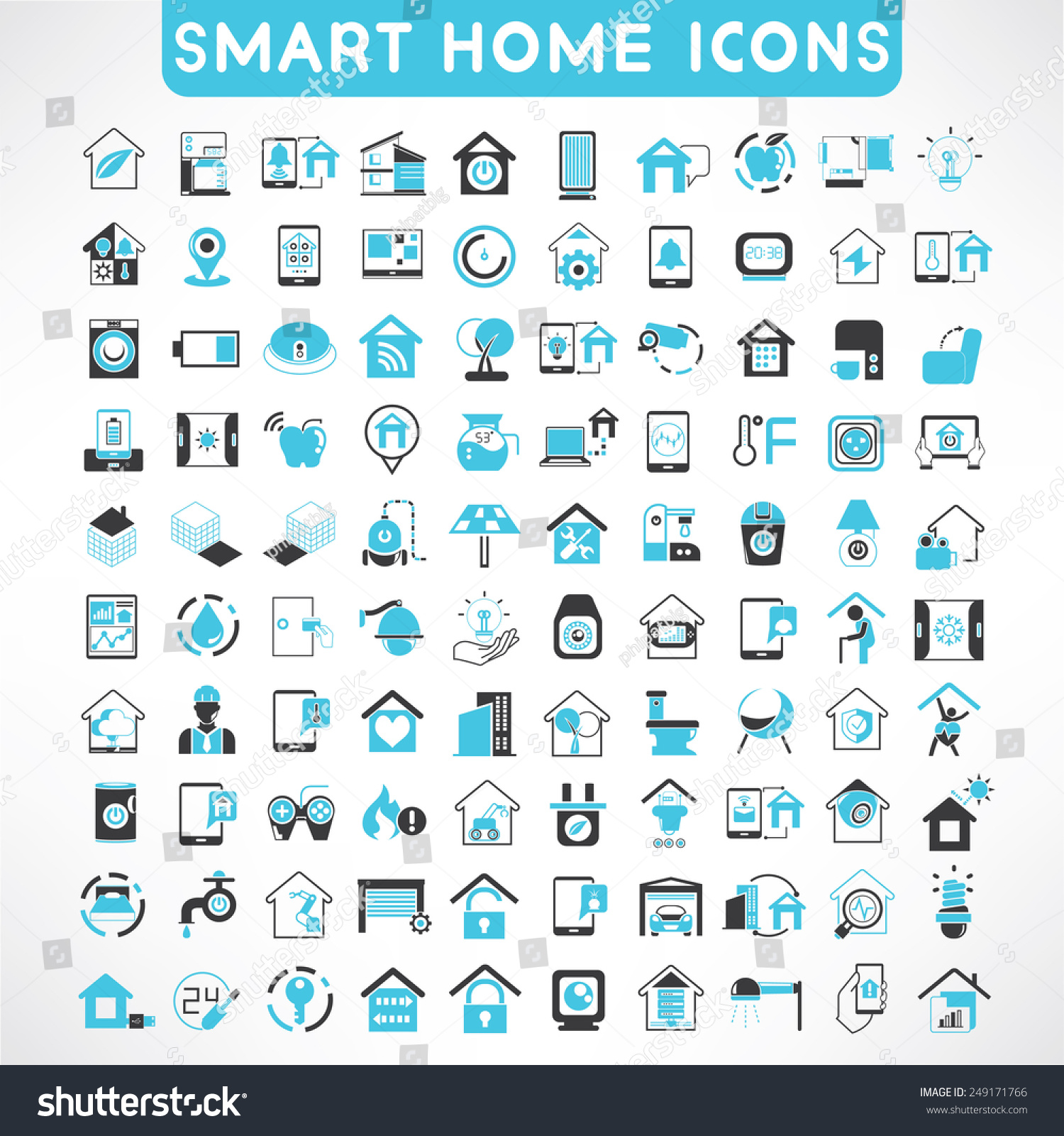 royalty free home automation icons set smart home 249171766 stock photo. Black Bedroom Furniture Sets. Home Design Ideas