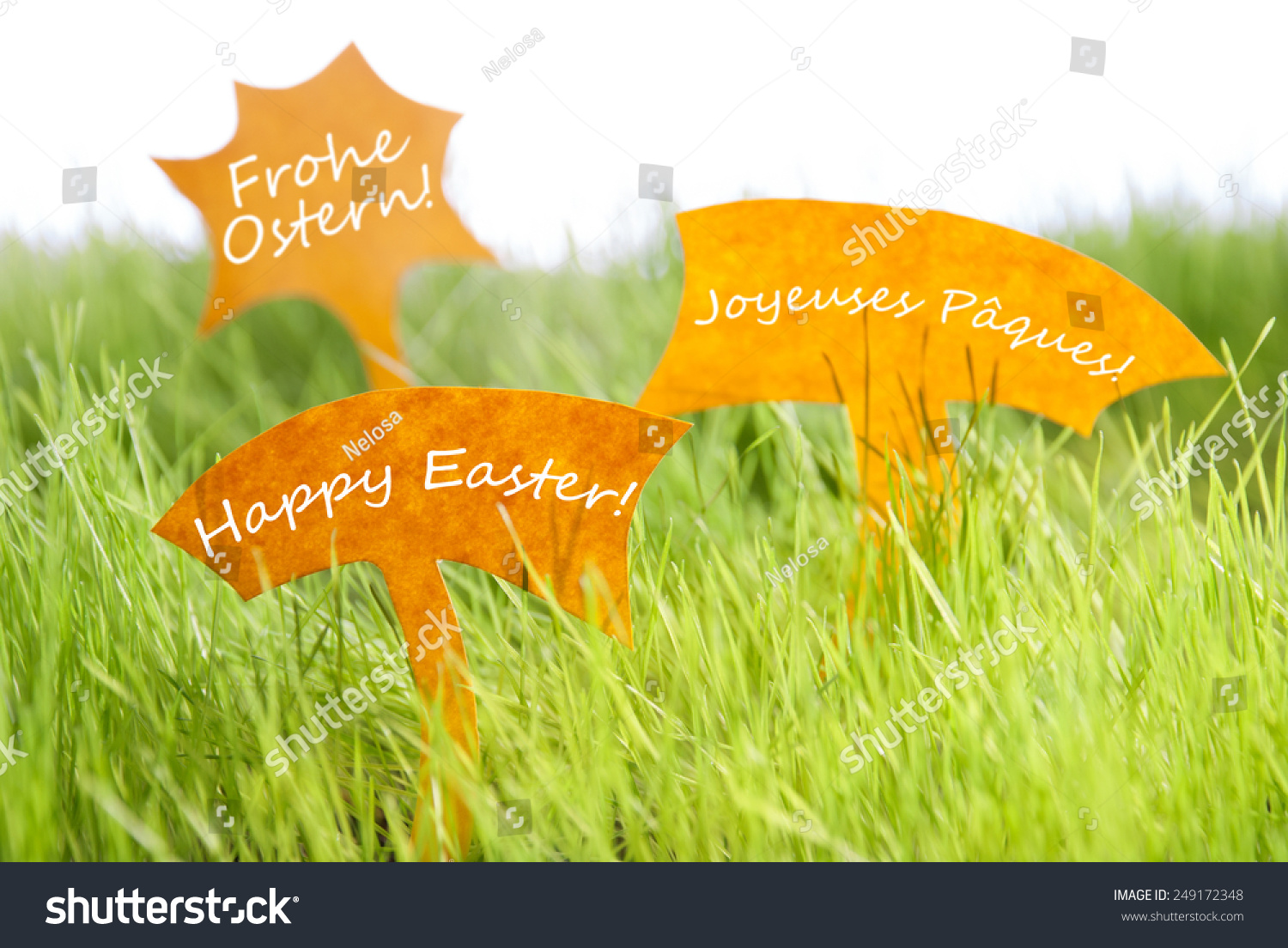 Three Labels German Text Frohe Ostern Stock Photo Royalty Free