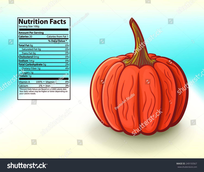 Freshness Pumpkin Nutrition Facts Vector Illustration Stock Vector Royalty Free 249193567