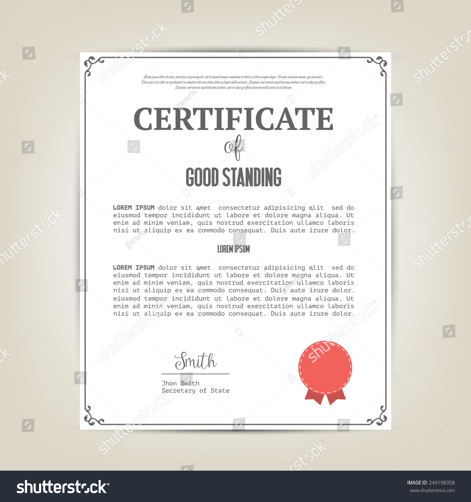 Inspirational gallery of what is a certificate of good standing certificate good standing template stock vector yadclub Choice Image