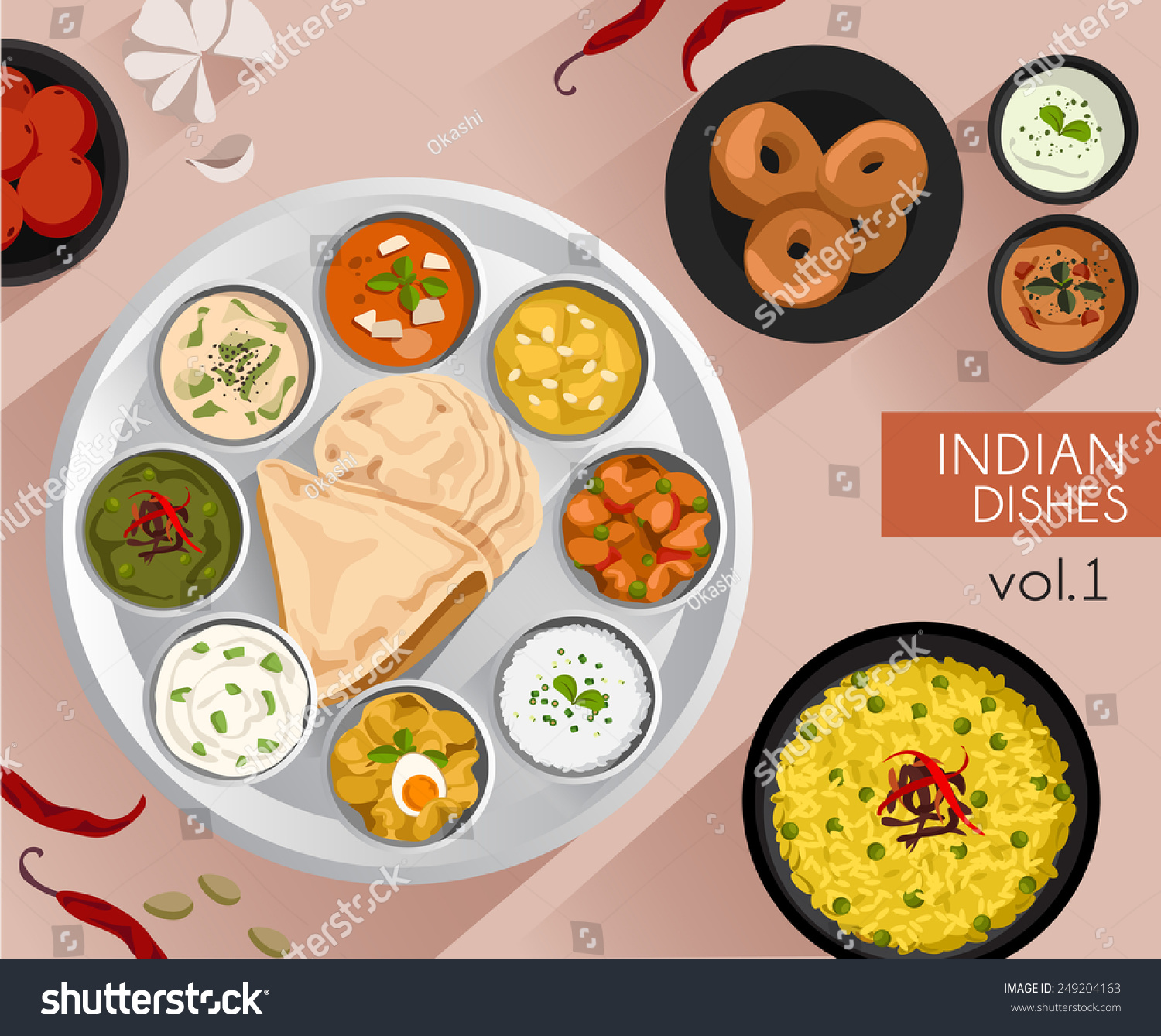 Food illustration indian food vector illustration stock for Art of indian cuisine
