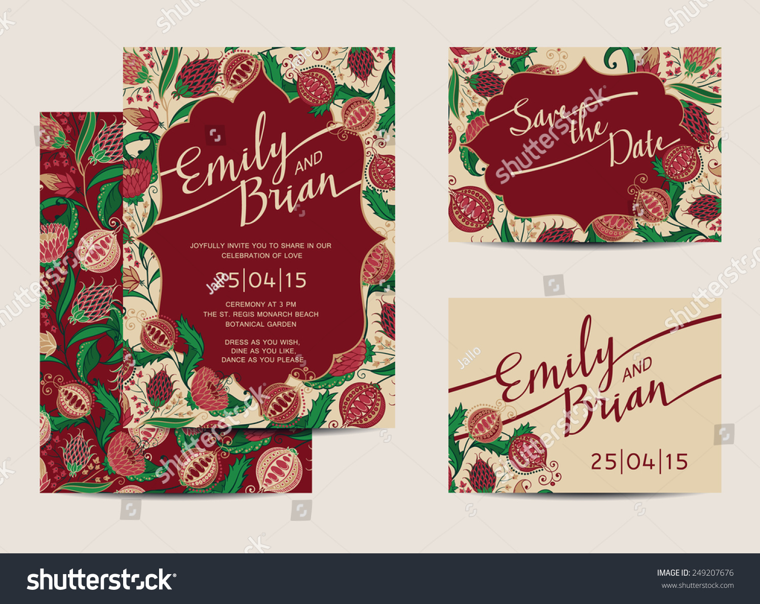 Set Wedding Invitation Cards Save Date Stock Vector HD (Royalty Free ...