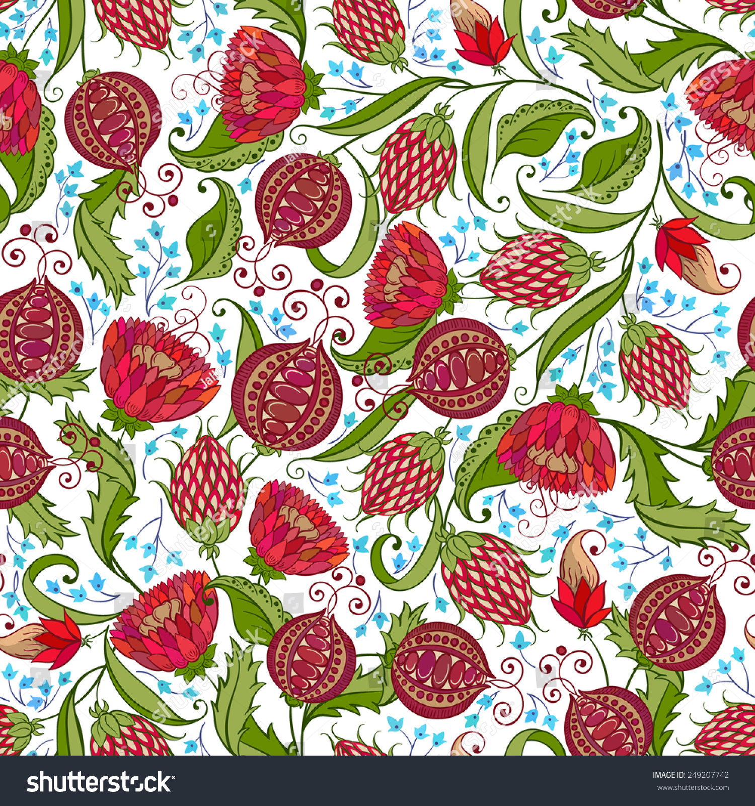 Seamless Bohemian Pomegranate Floral Pattern Vector Stock Vector ...