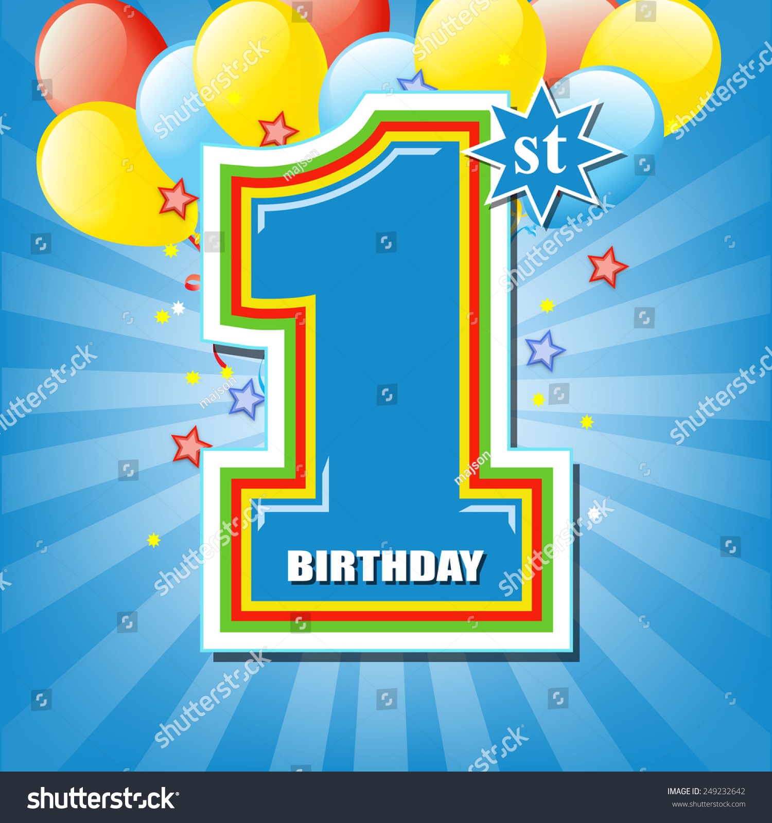 Happy First Birthday Background Stock Vector 249232642