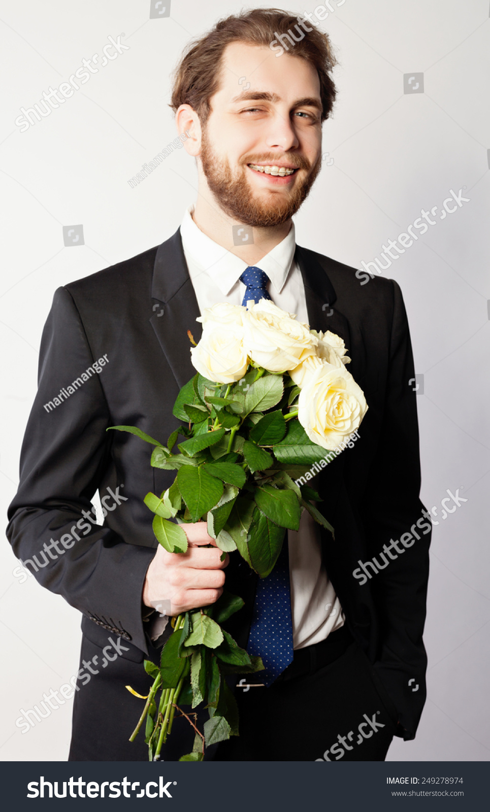 Man Costume Bouquet White Roses Wearing Stock Photo Edit Now