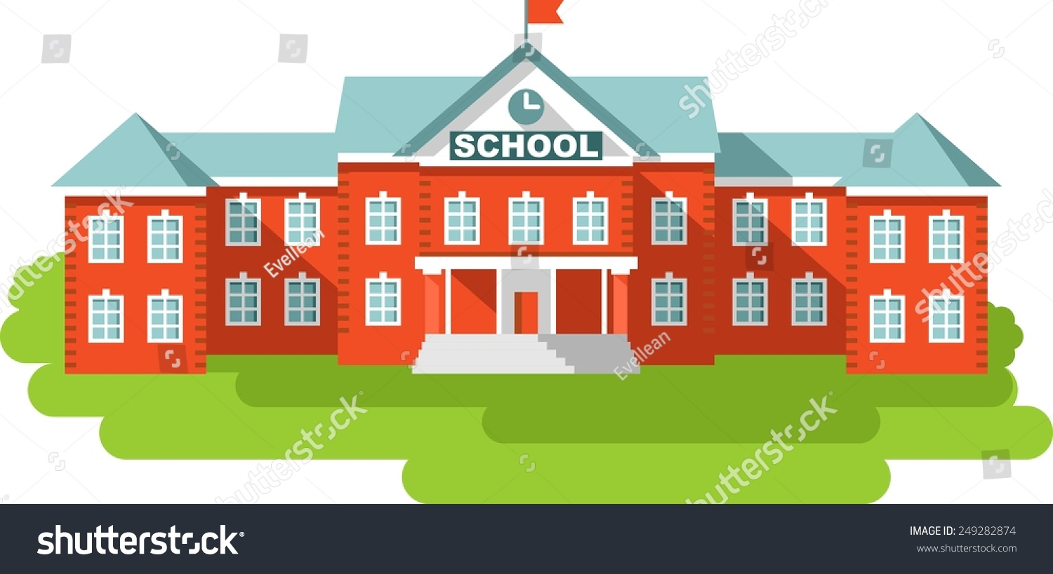 Classical school building isolated on white stock vector for Classic house music downloads