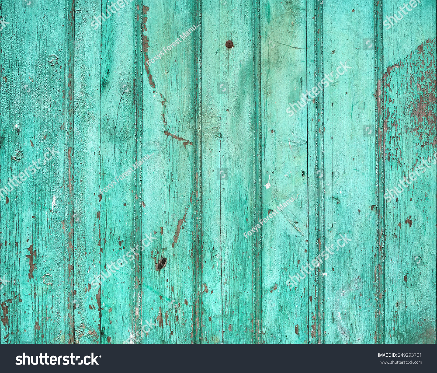 Old Rustic Painted Cracky Green Turquoise Wooden Texture Or Background