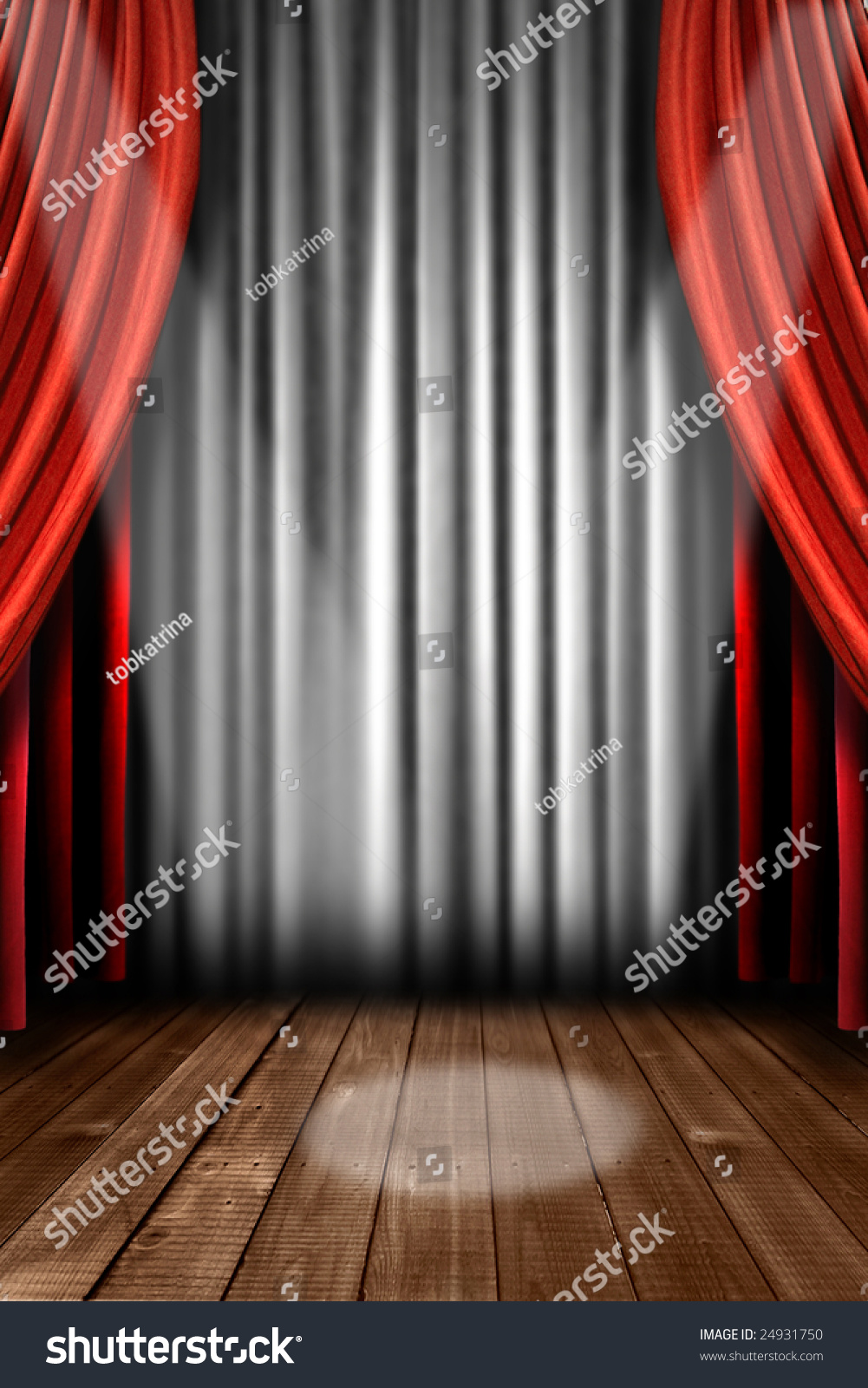 Stock photo dramatic red old fashioned elegant theater stage stock - Vertical Stage Drapes With Dramatic Spotlight In The Center