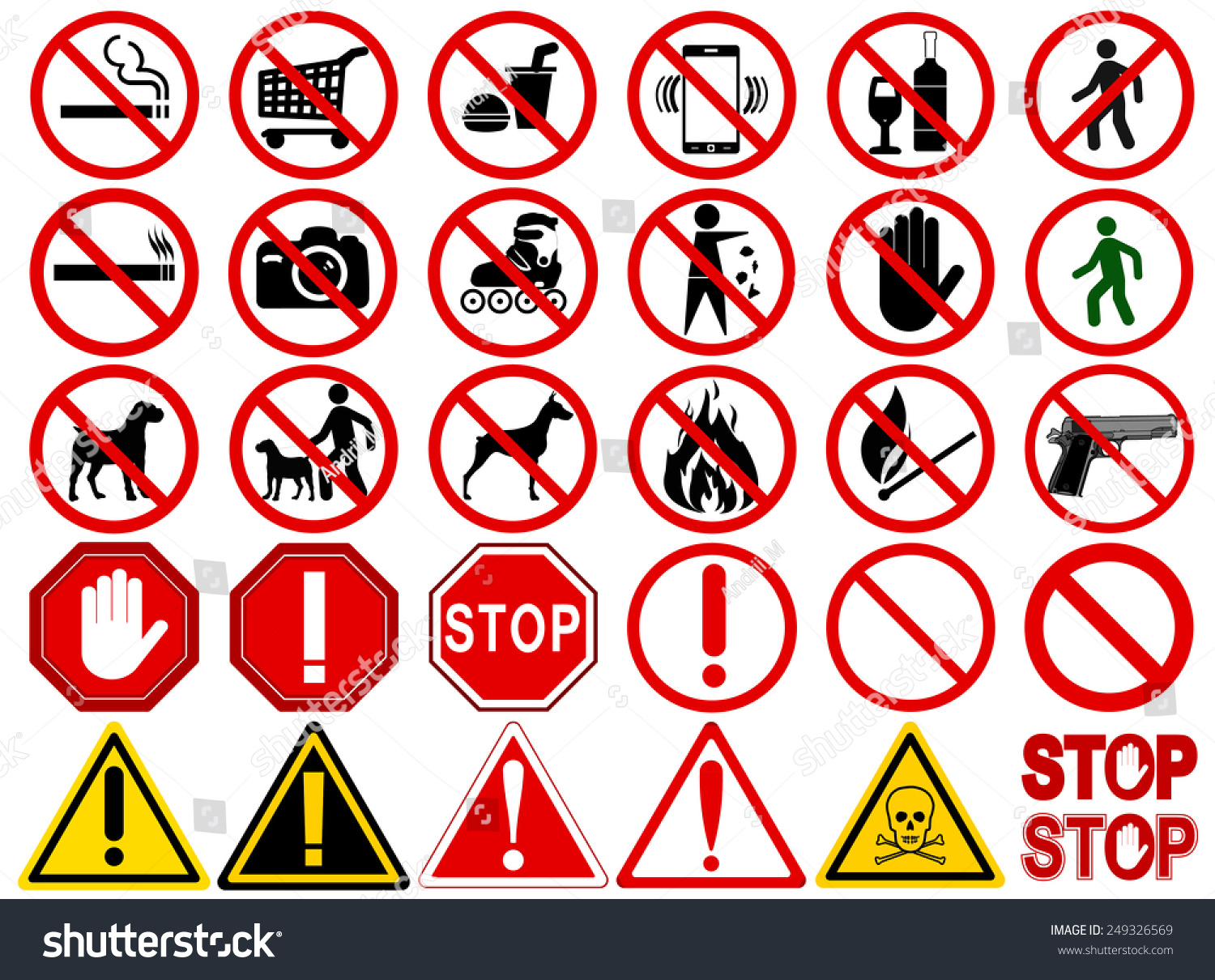 Set of Signs for Different Prohibited Activities. quot;Noquot; signs, No