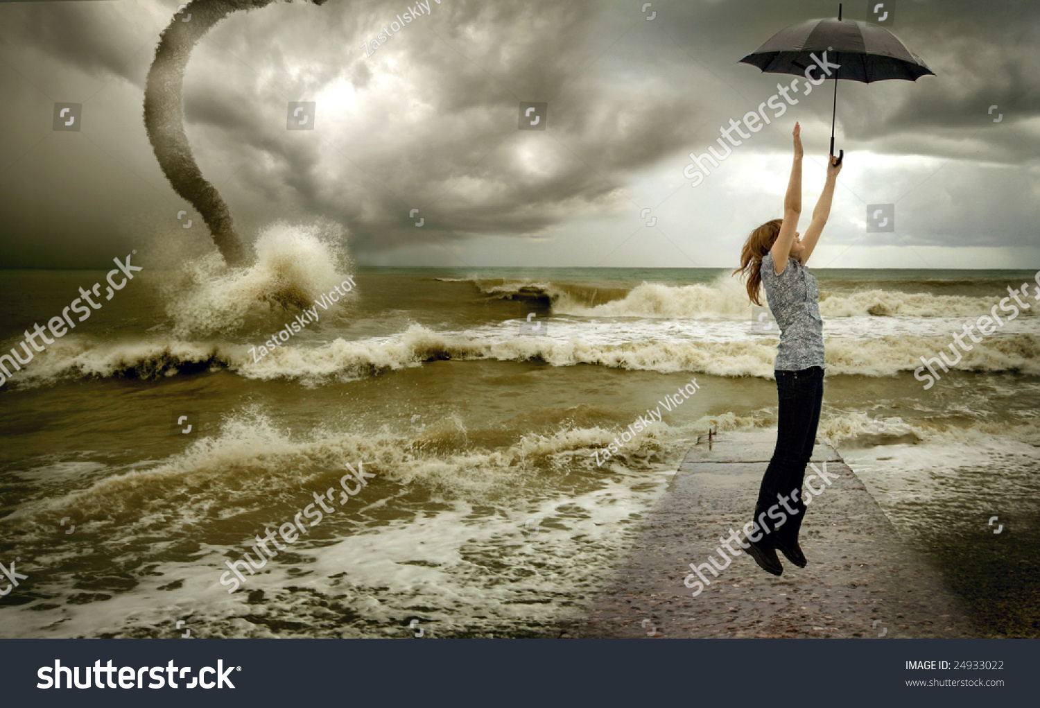 Flying Up Girl With Umbrella Over Sea Tornado Background ...