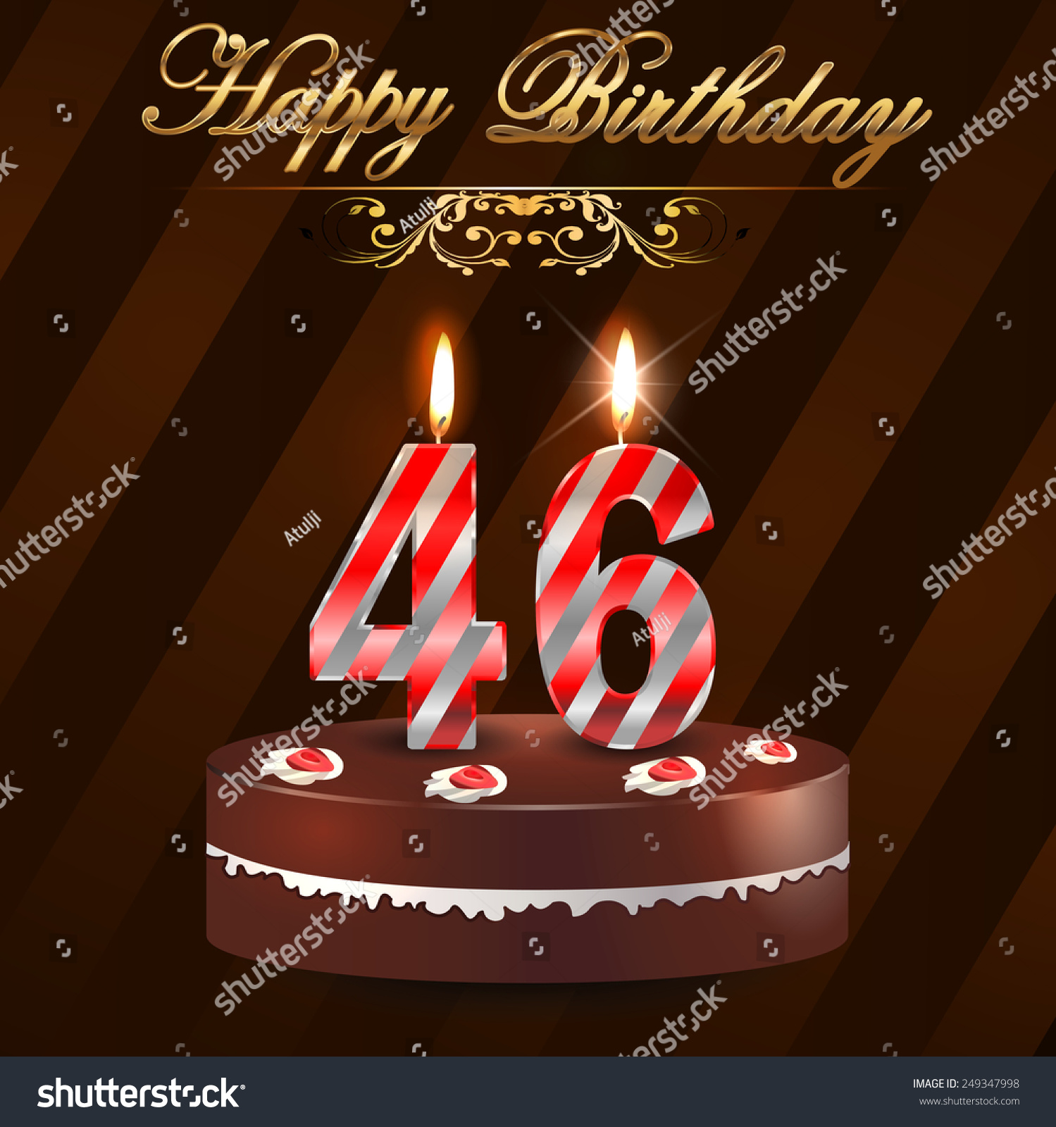 46 Year Happy Birthday Card With Cake And Candles, 46th