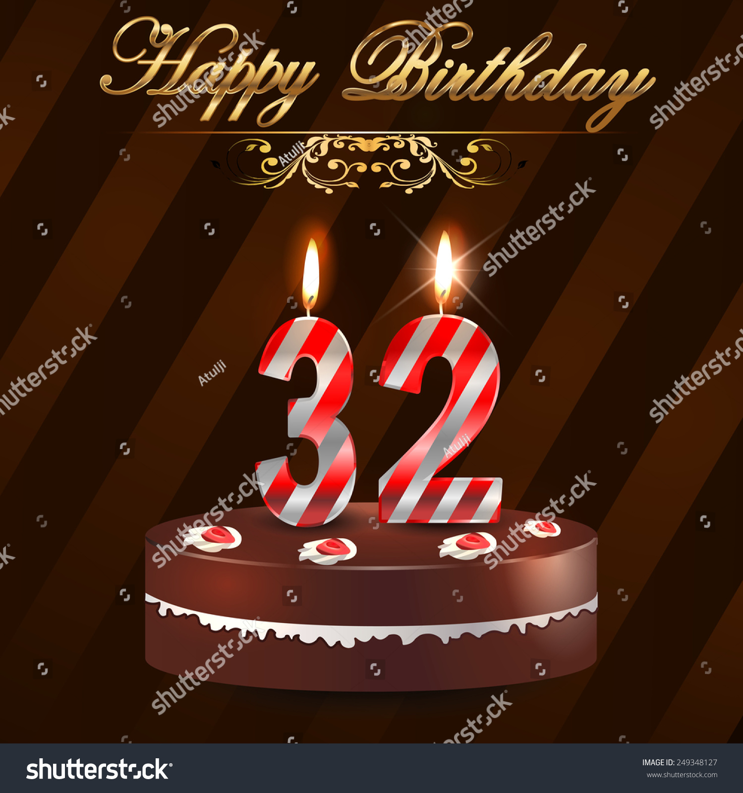 32 Year Happy Birthday Card Cake Stock Vector Royalty Free