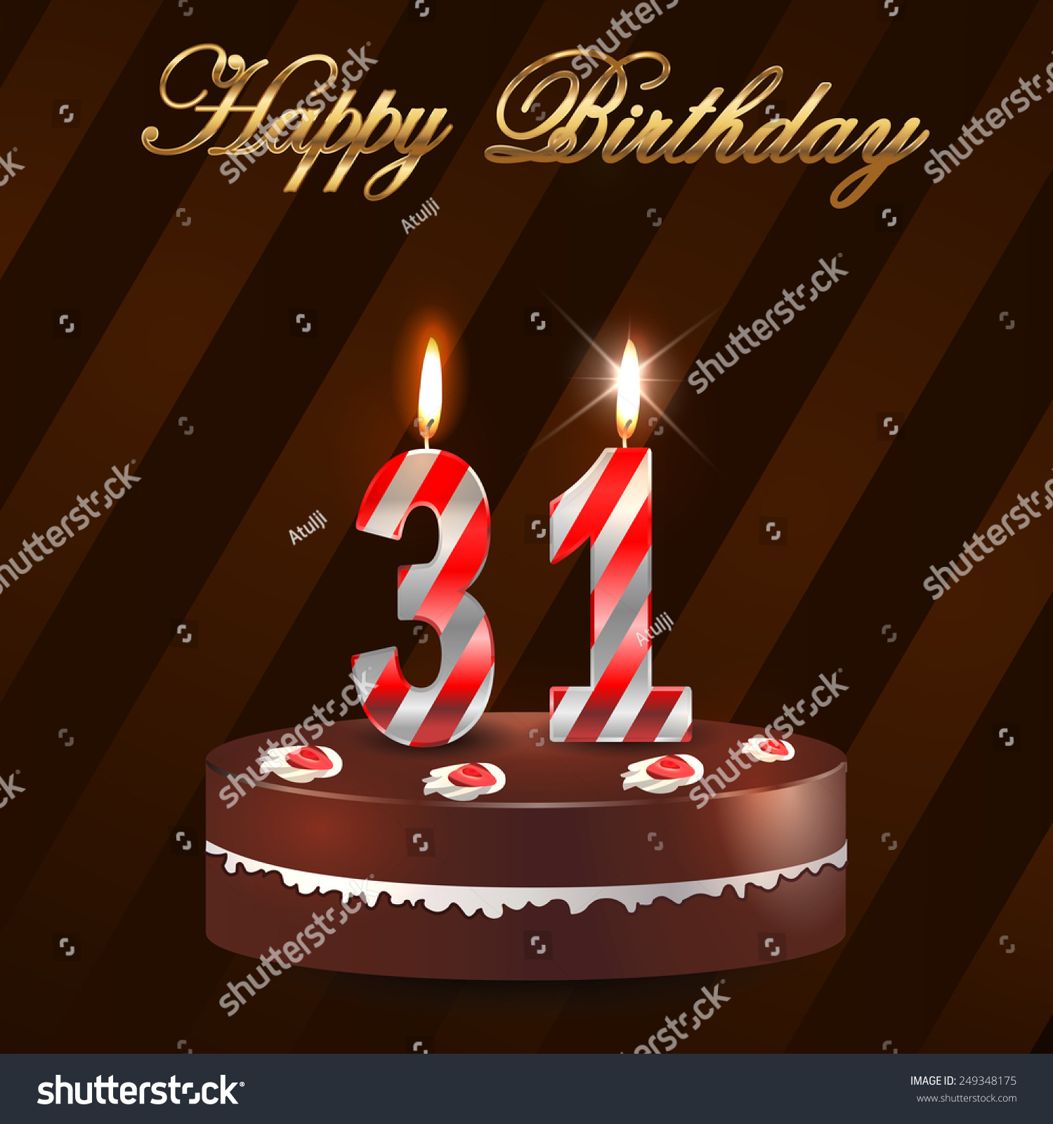 31 Year Happy Birthday Card Cake Stock Vector Royalty Free