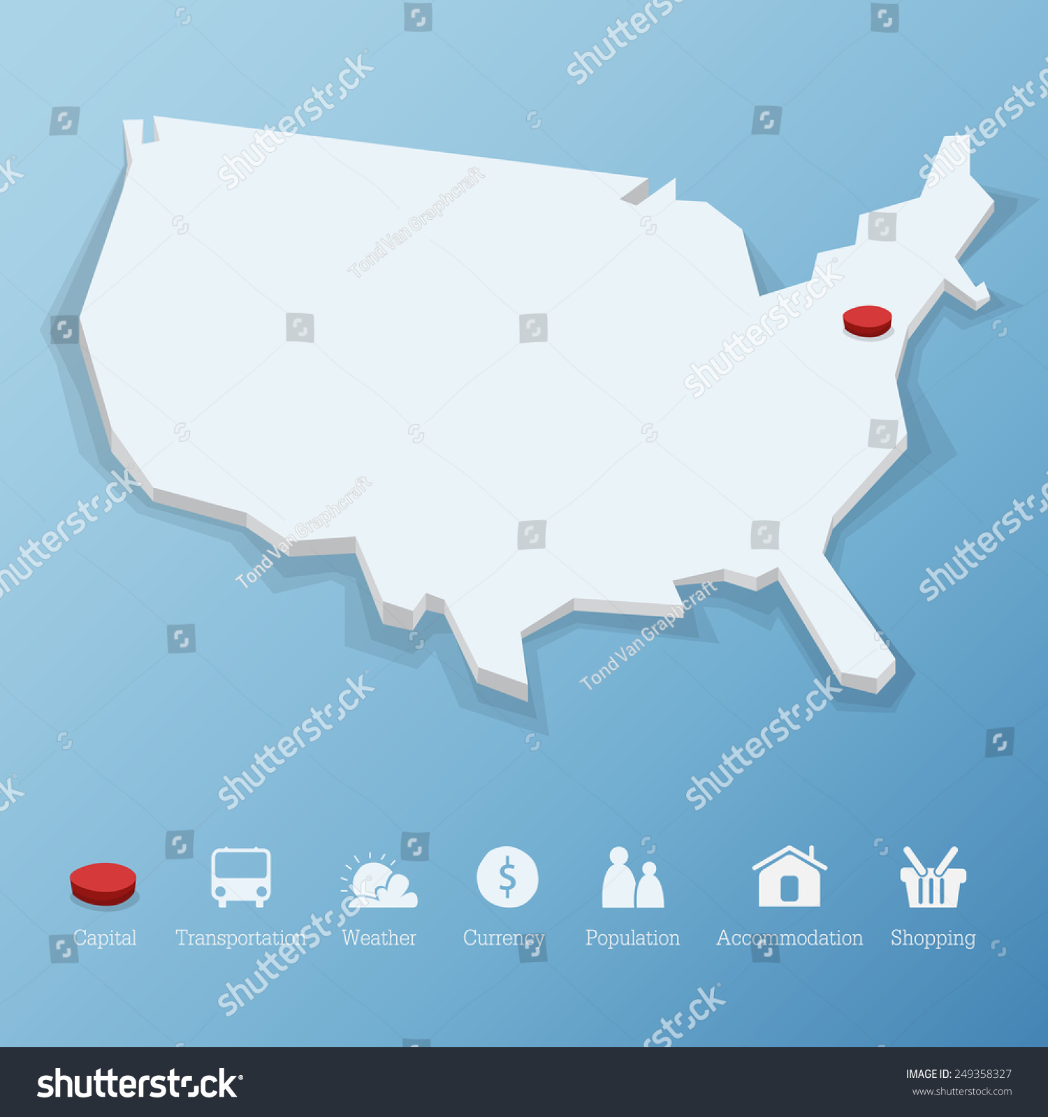 United States America Map Low Poly Stock Vector - Flat us map