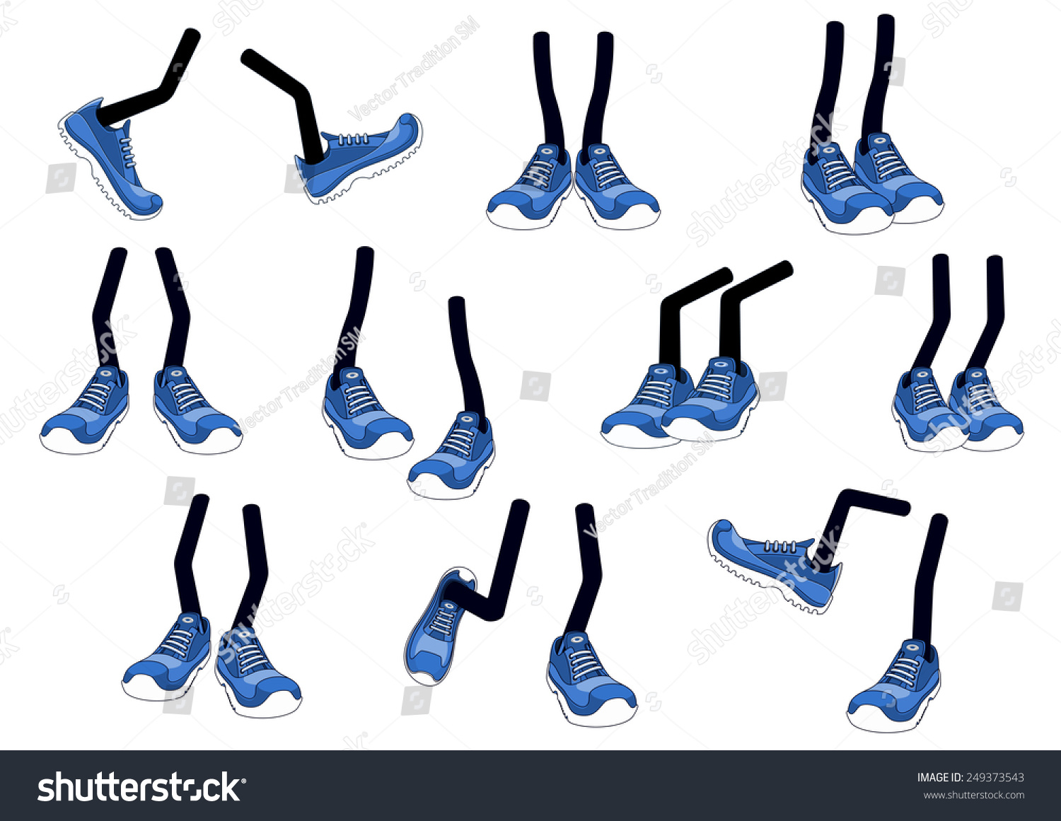 Cartoon vector walking feet in blue trainers or sneakers on stick legs in various positions #249373543
