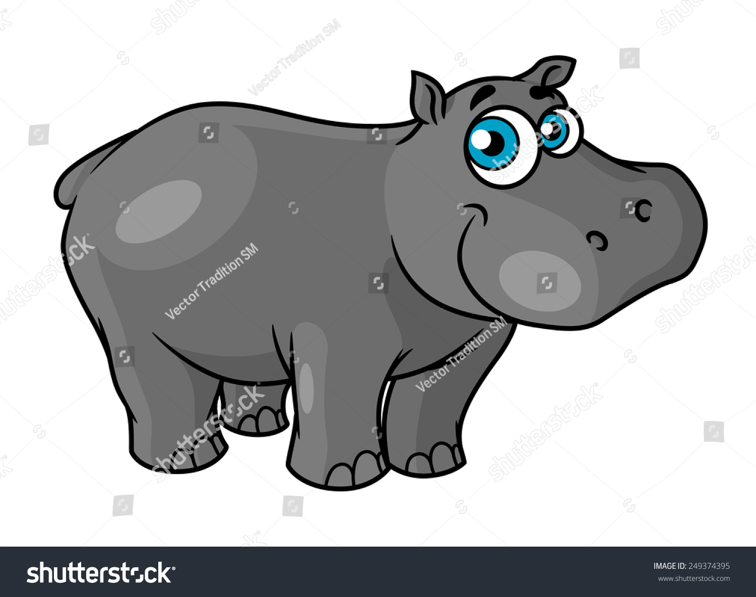 stock vector cute cartoon baby hippo with blue eyes and a happy smile suitable for kids book design 249374395