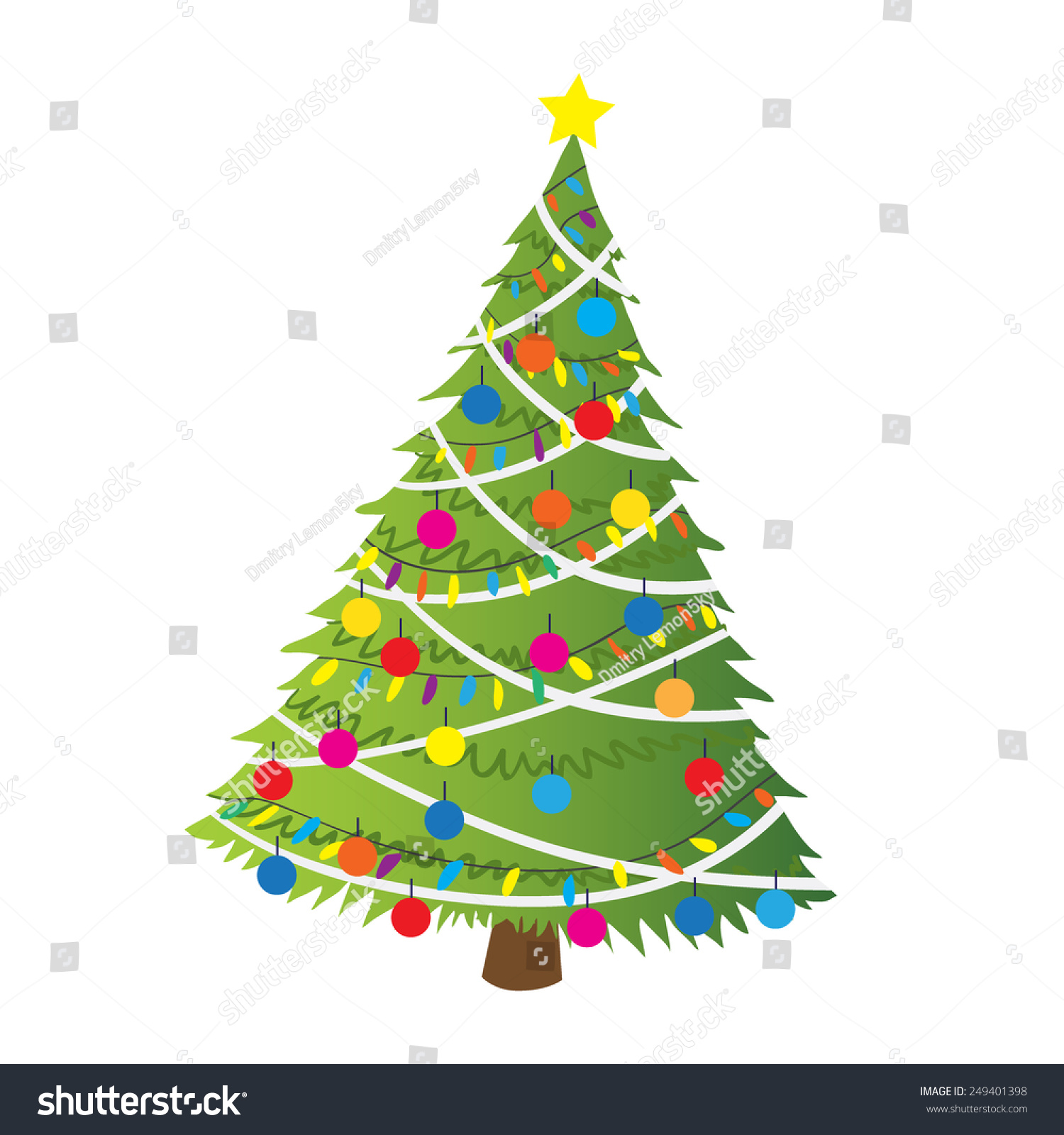 cartoon christmas tree flat sticker icon the vector illustration for ui web games
