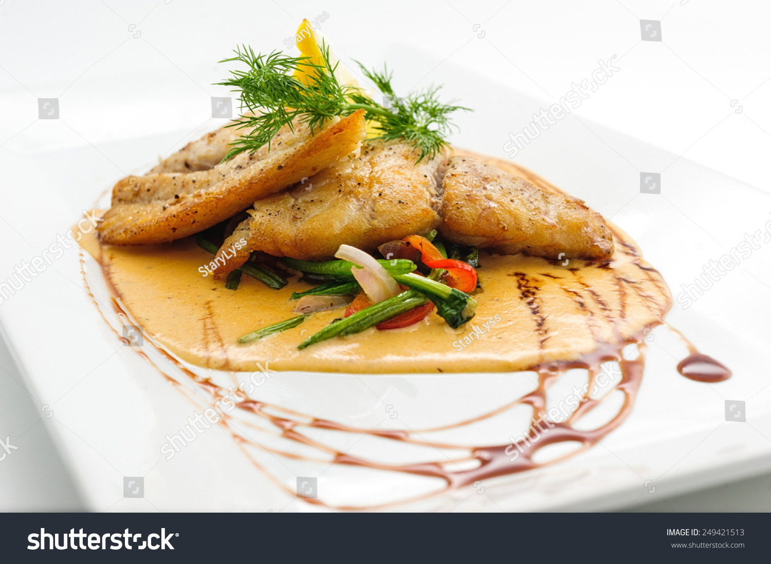 Fried fish fillet sauce on white stock photo 249421513 for Sauce for fried fish