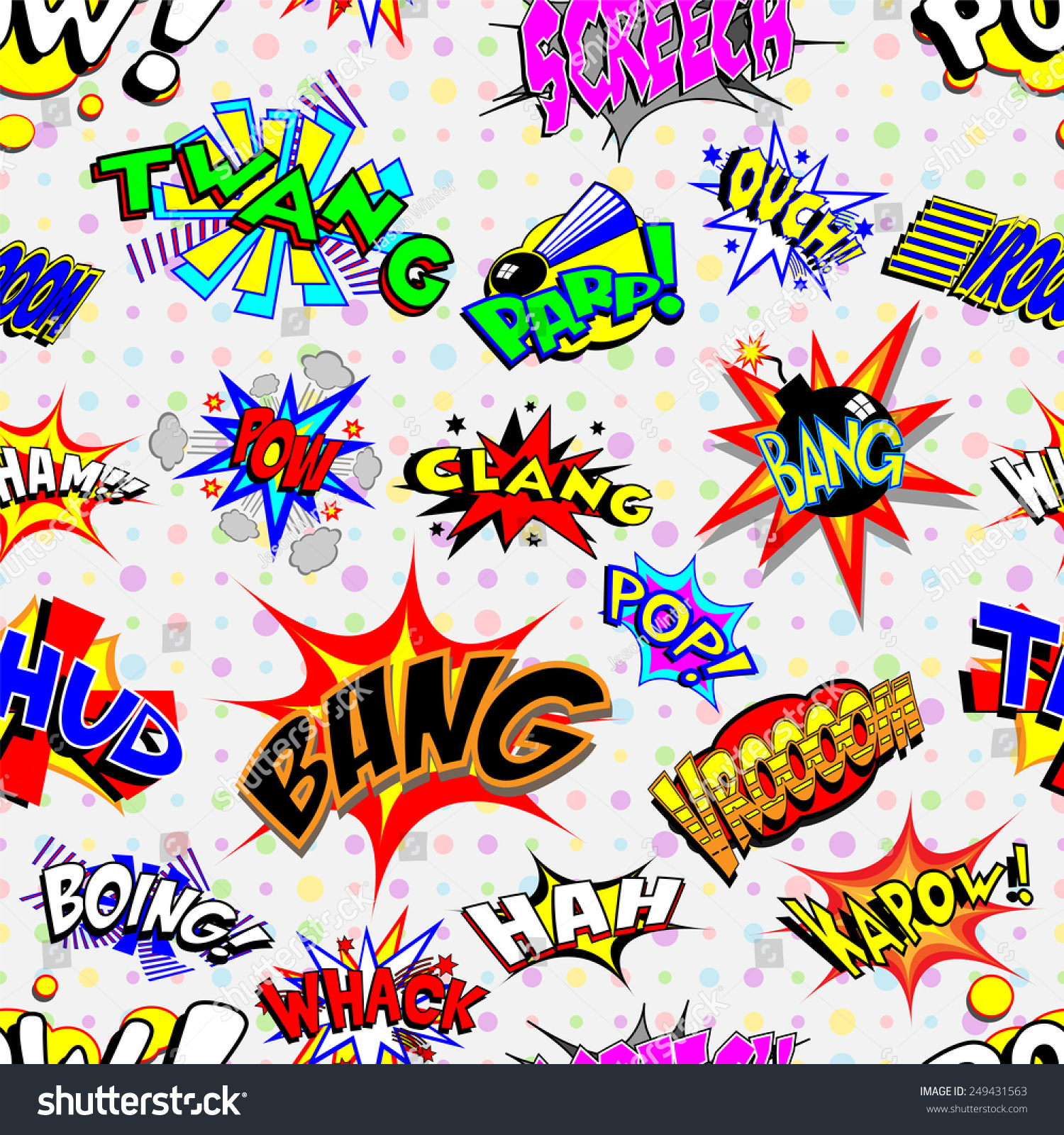 Colorful Cartoon Text Captions Explosions Noises Stock Vector ...
