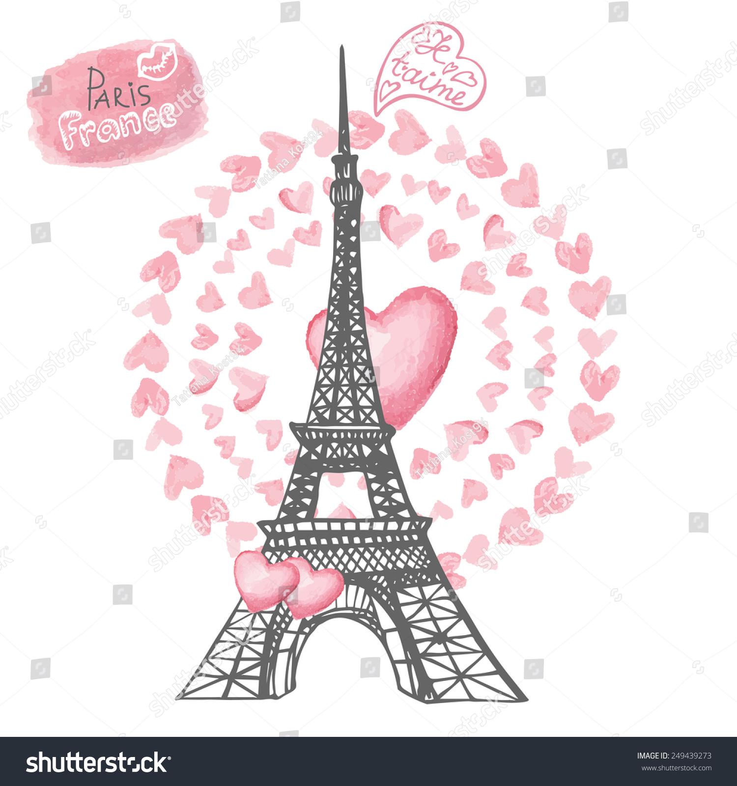 As Creation Pink Paris Pattern Eiffel Tower Childrens: Love Pariscard Eiffel Towerletteringpink Hearts Wreathhand