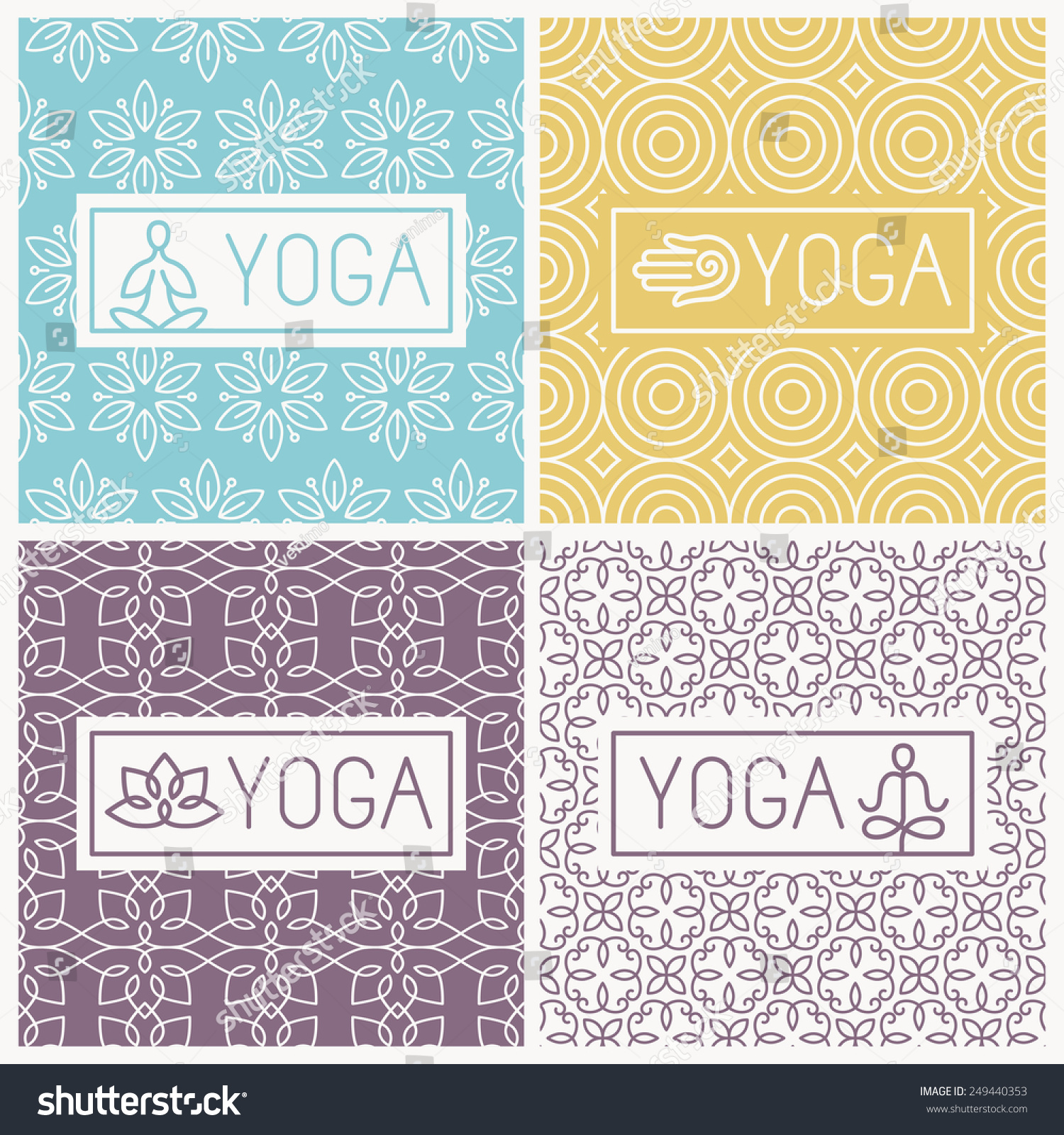 Graphic Design Elements Line : Vector yoga icons line badges graphic stock
