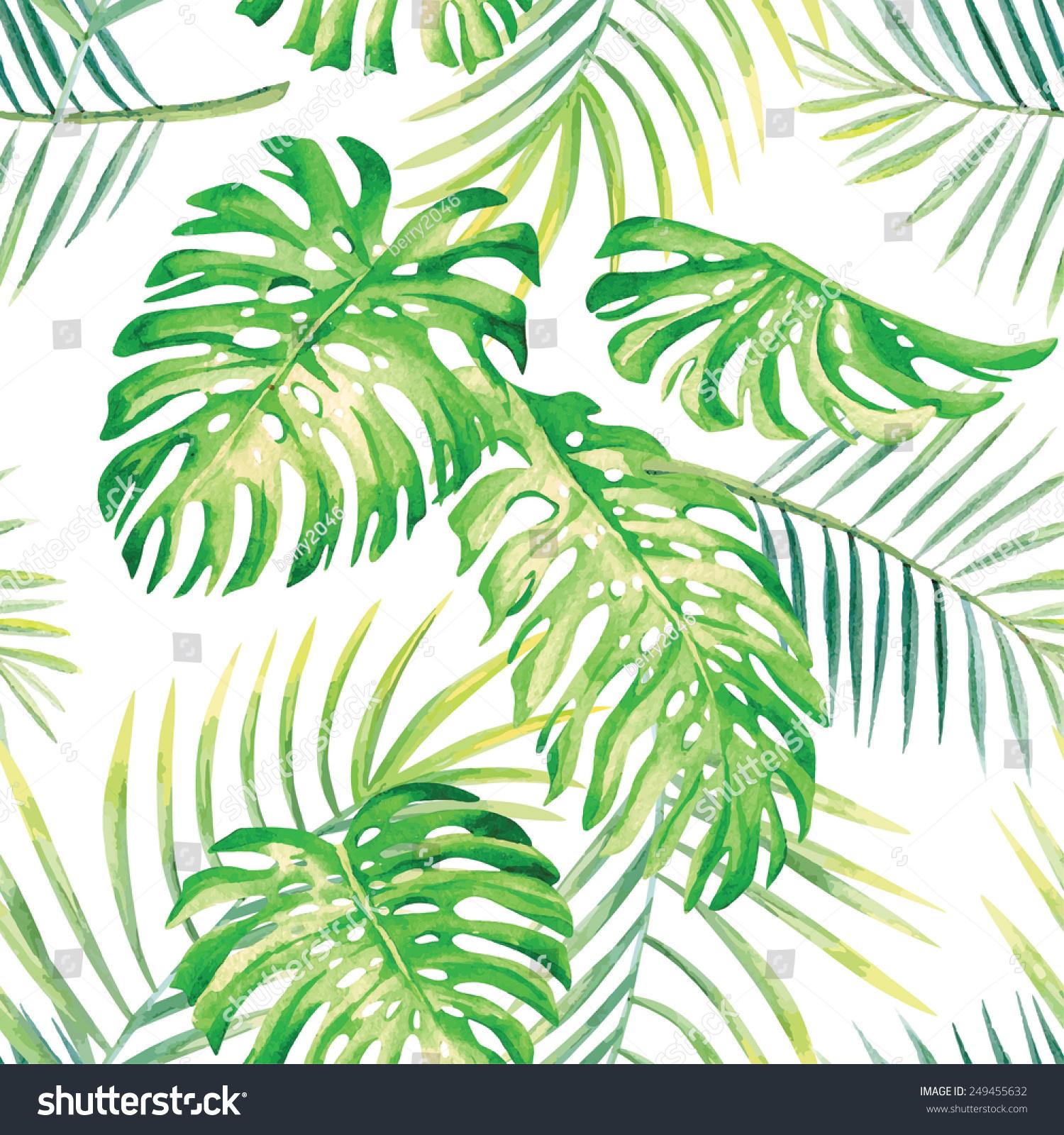 Hand Drawn Watercolor Tropic Monstera Leaves Stock Vector