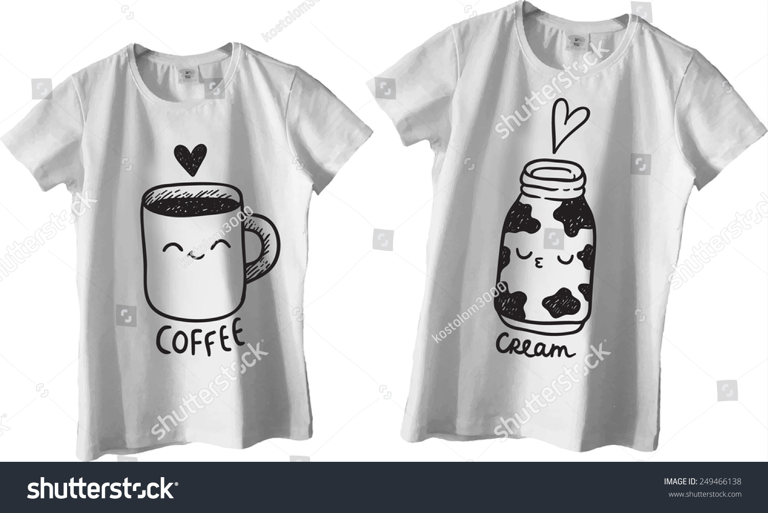 Design t shirt for couple - Cute Coffee And Cream St Valentines Design For Couple T Shirts