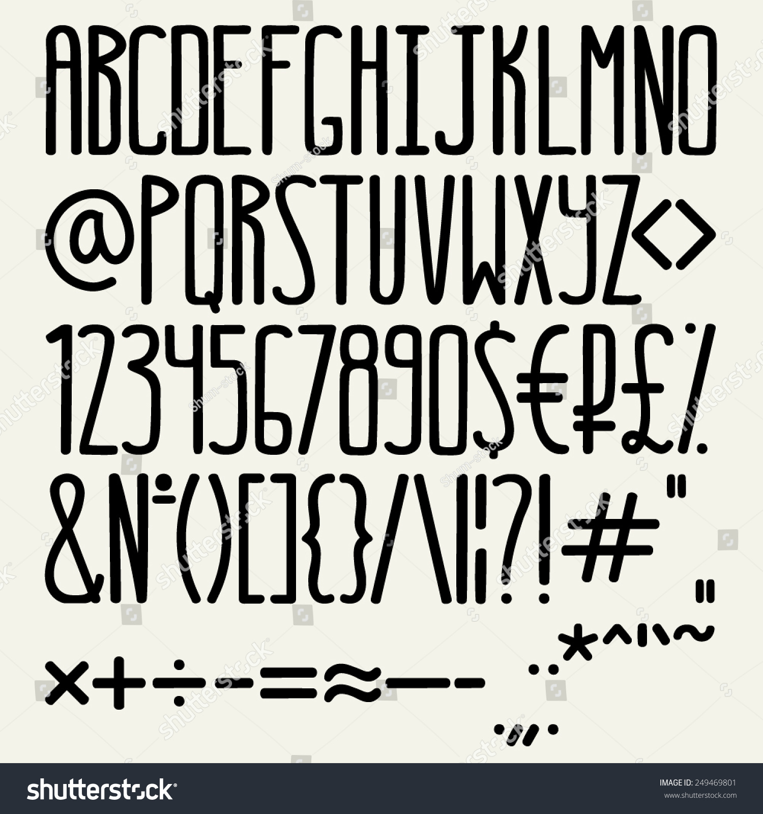 Vector Hand Drawn Font English Alphabet With Letters Digits And Special Typographic Signs