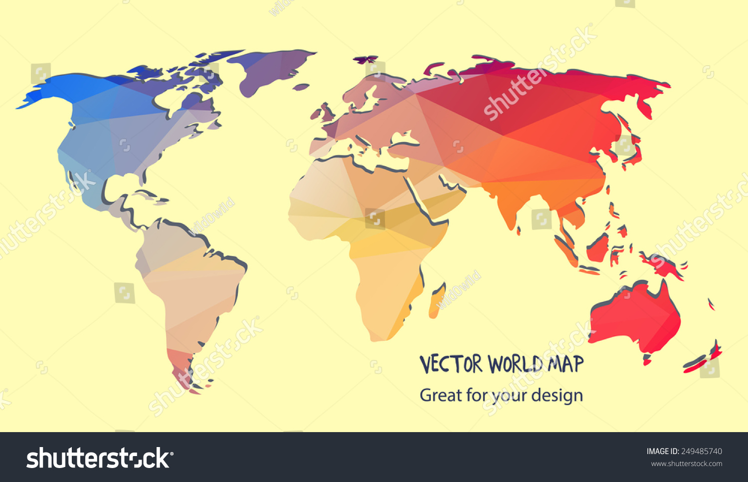 Vector world map triangle set stock vector 249485740 shutterstock vector world map triangle set gumiabroncs Gallery