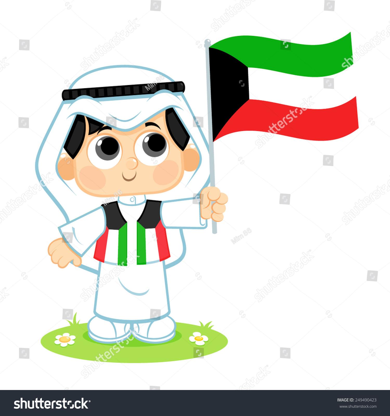 Stock Vector Child Celebrates Kuwait National Day Uae Flag Boy