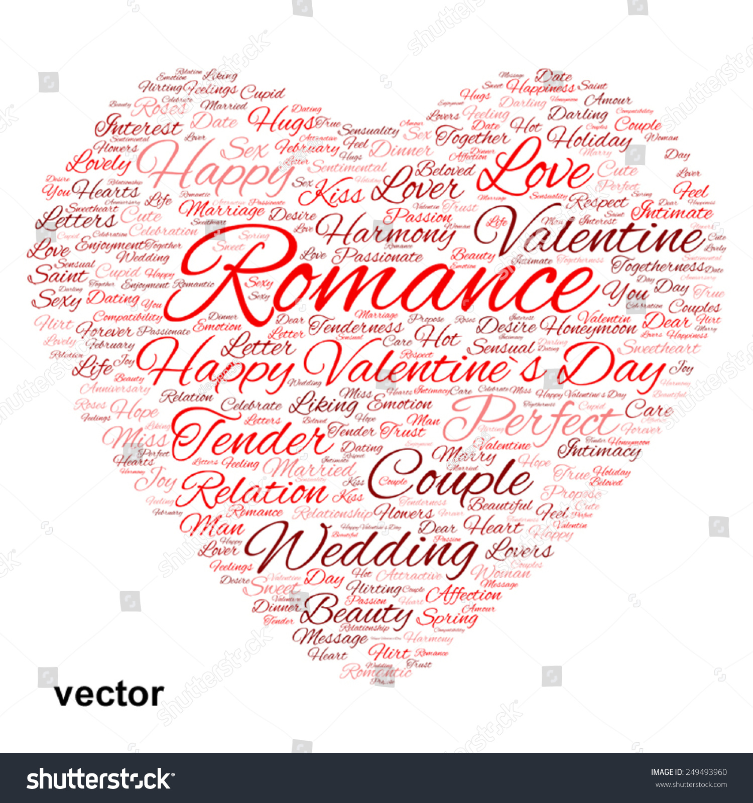 Vector Concept Or Conceptual Red Wordcloud Text In Shape Of Heart