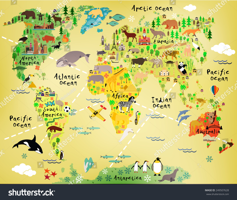 Cartoon world map stock vector 249507628 shutterstock gumiabroncs Gallery