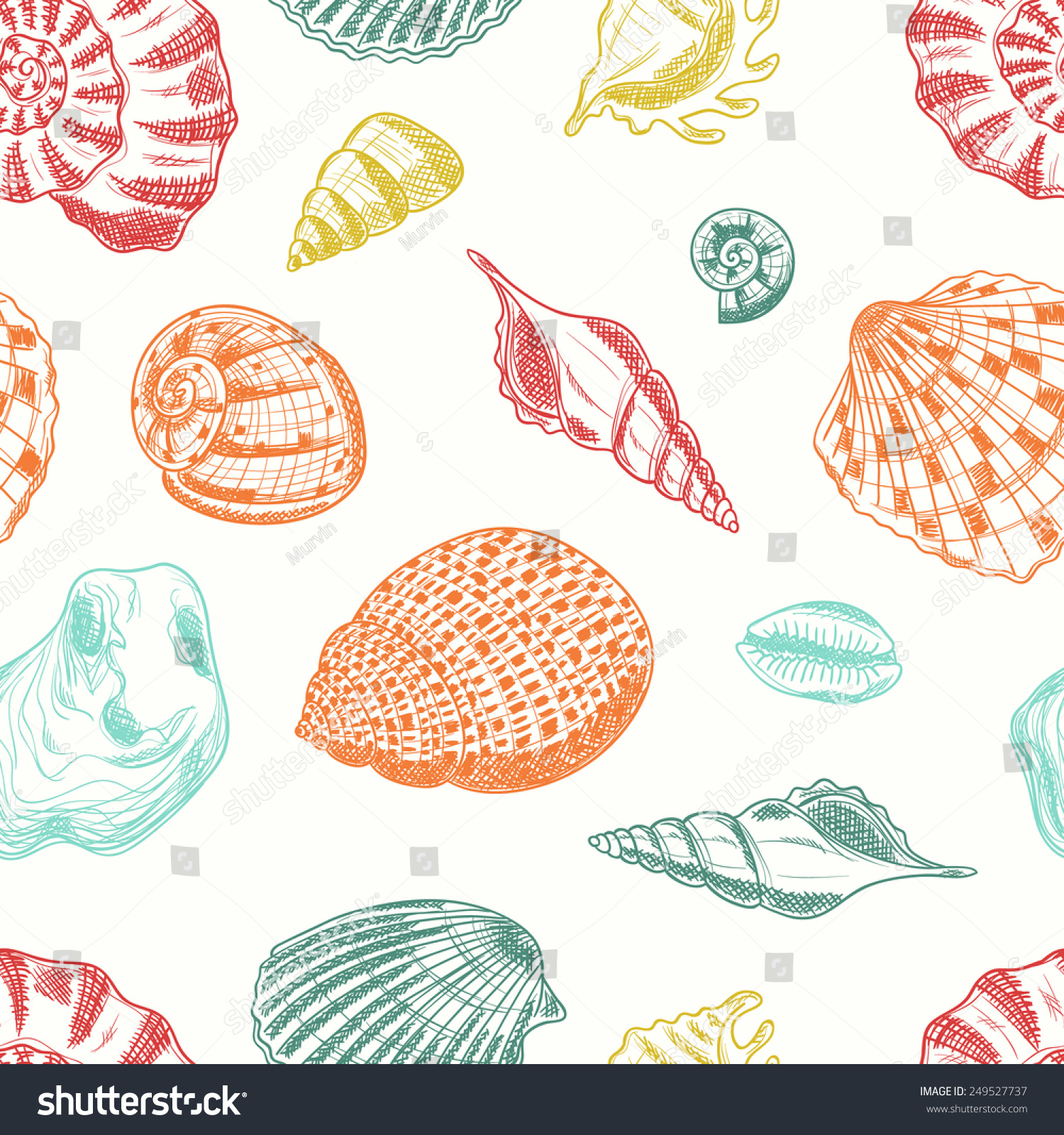 Seamless Pattern Seashells Vector Card Sea Stock Vector ...