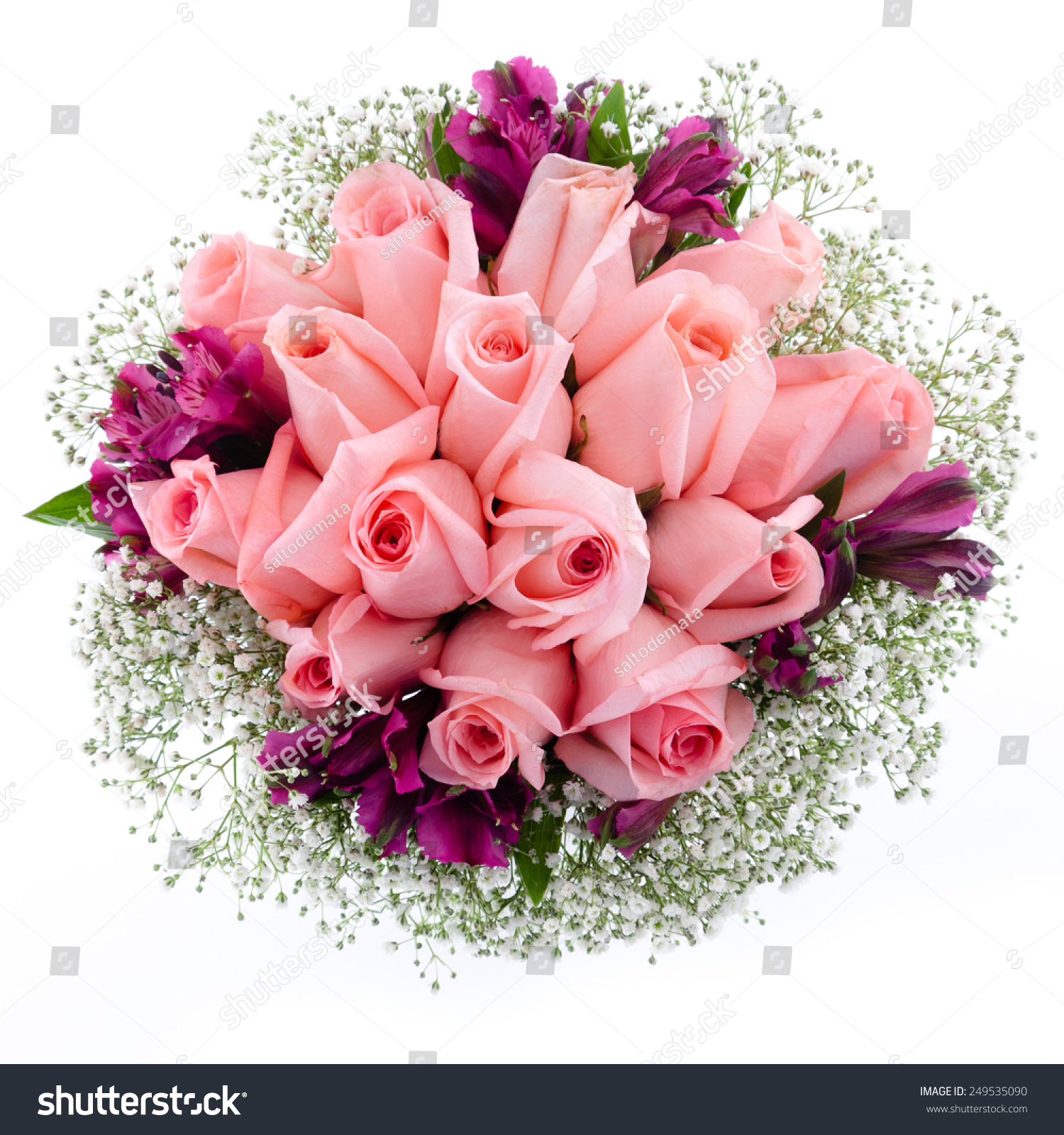 Wedding Bouquet Red Roses Pink Freesia Stock Photo Edit Now