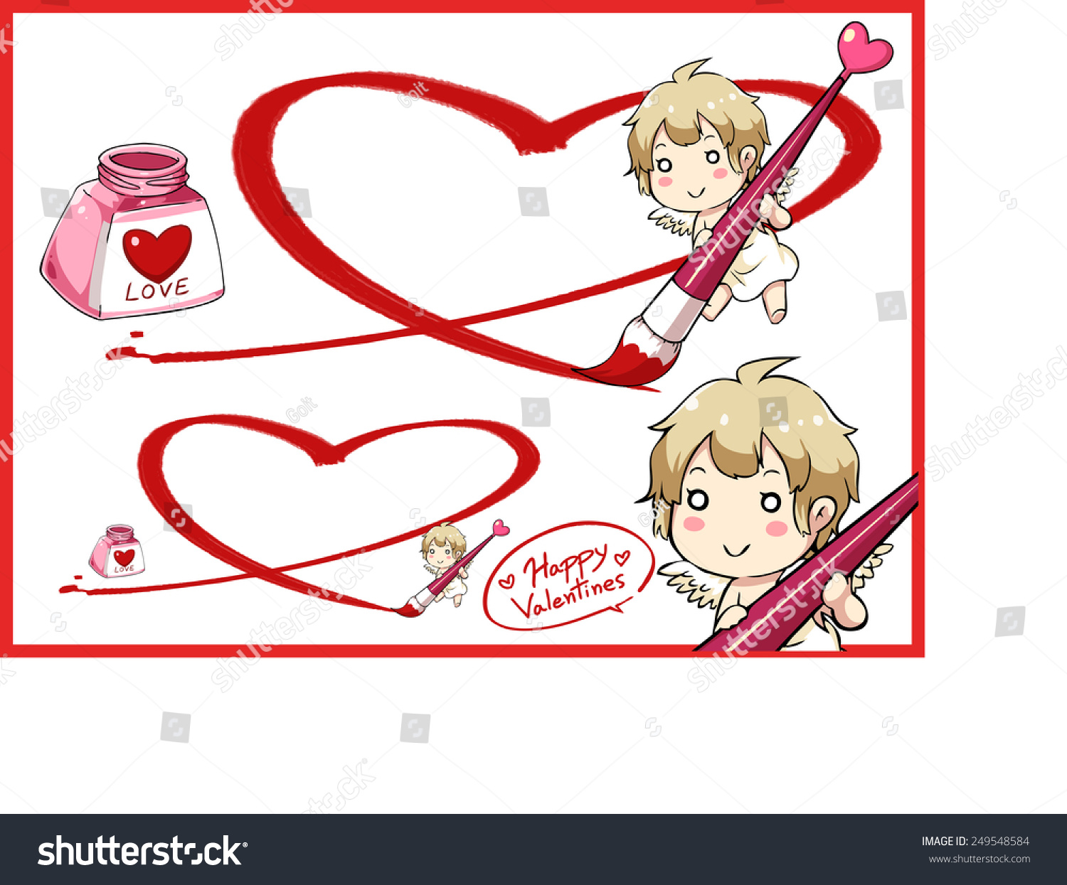 Valentines Day Cupid Draw Big Heart Stock Vector Royalty Free