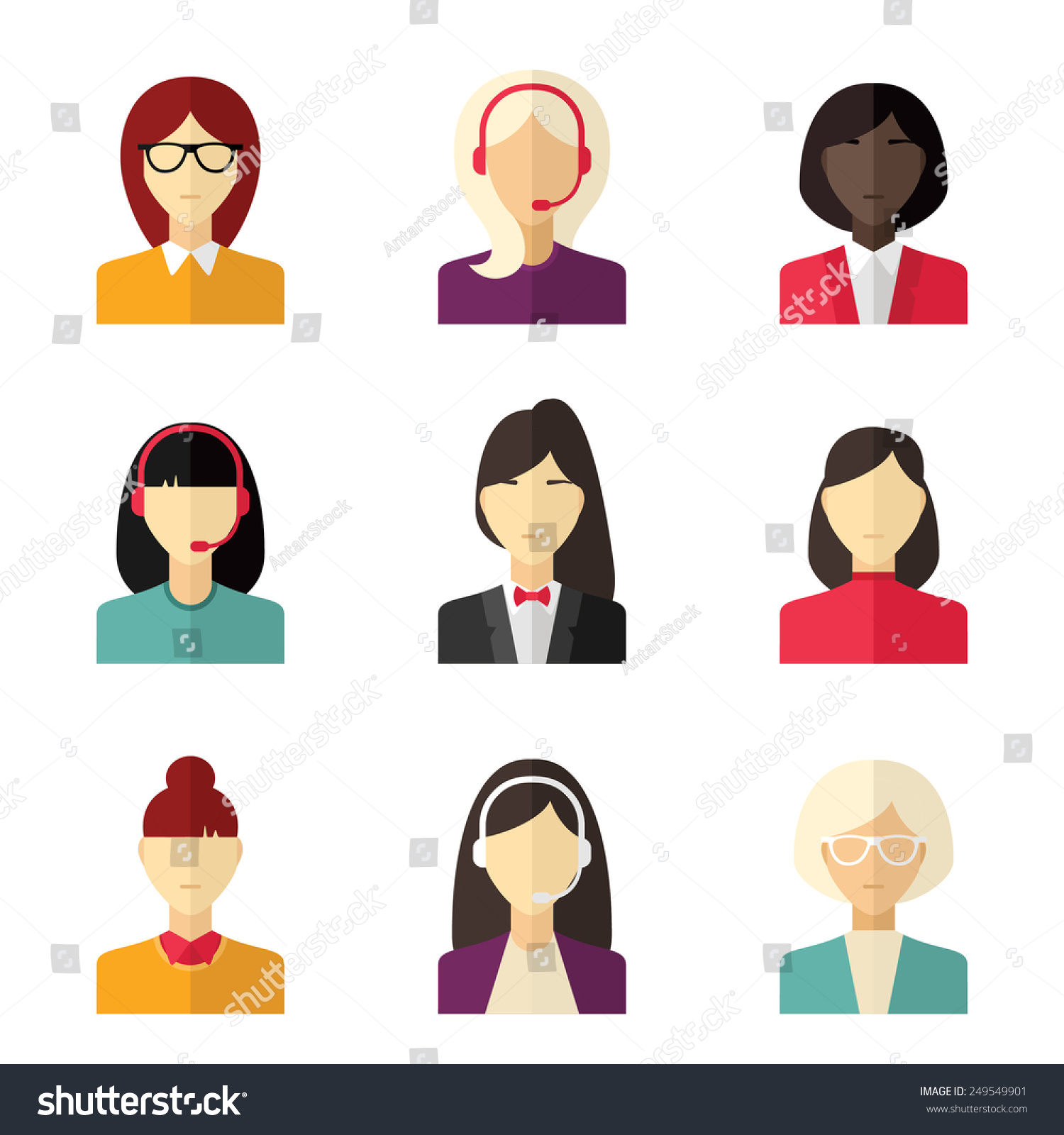 Vector Flat Icon Set Different People Stock Vector 249549901 Shutterstock