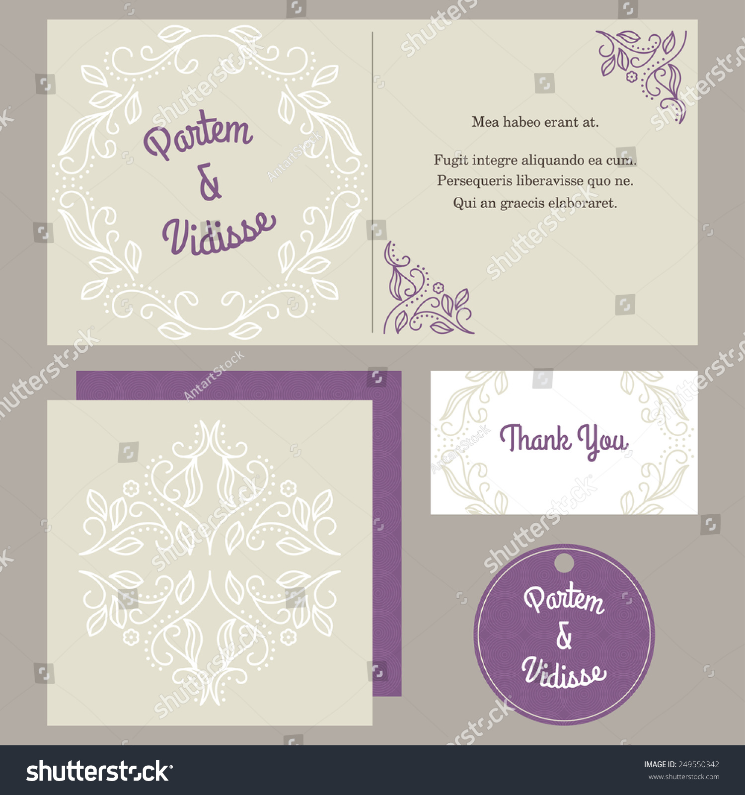Vector Design Template Wedding Invitation Envelope Stock Vector ...