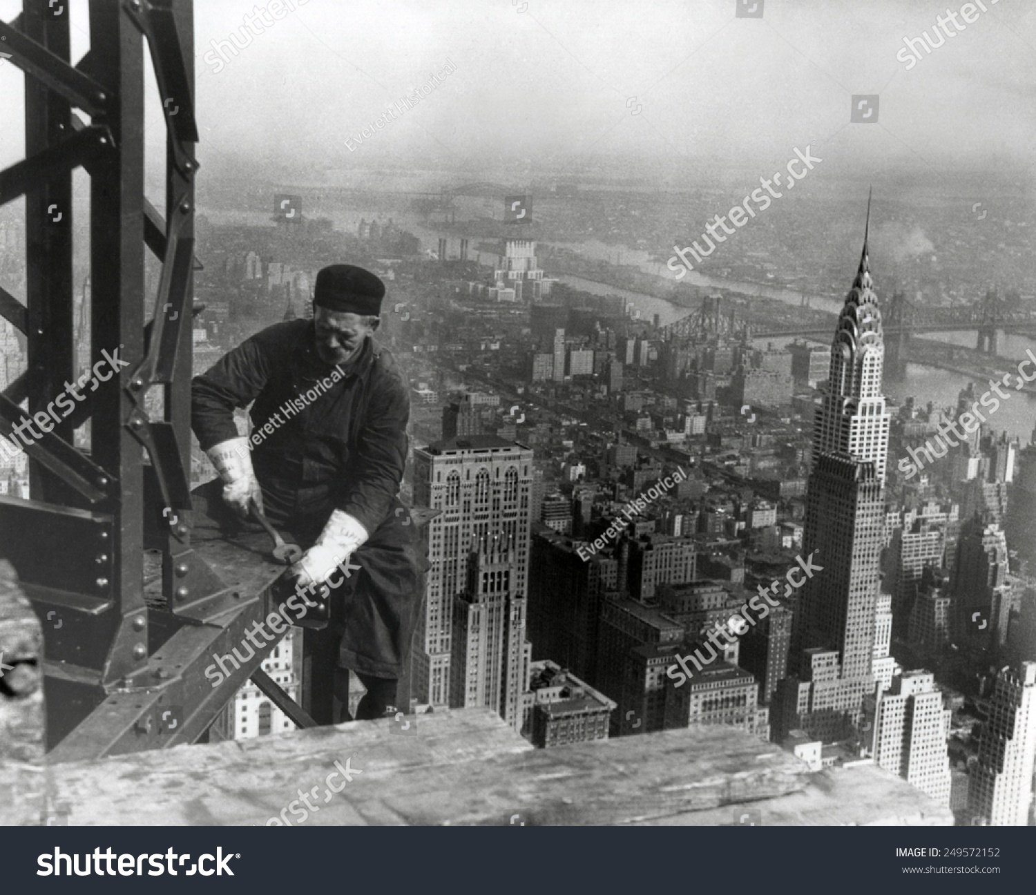 Middle Aged Iron Worker At The Empire State Building Construction Site 1930 Chrysler