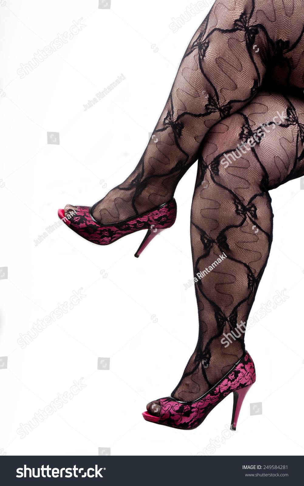Mujeres Bbw sexy curvy bbw legs black nylons : foto de stock (editar
