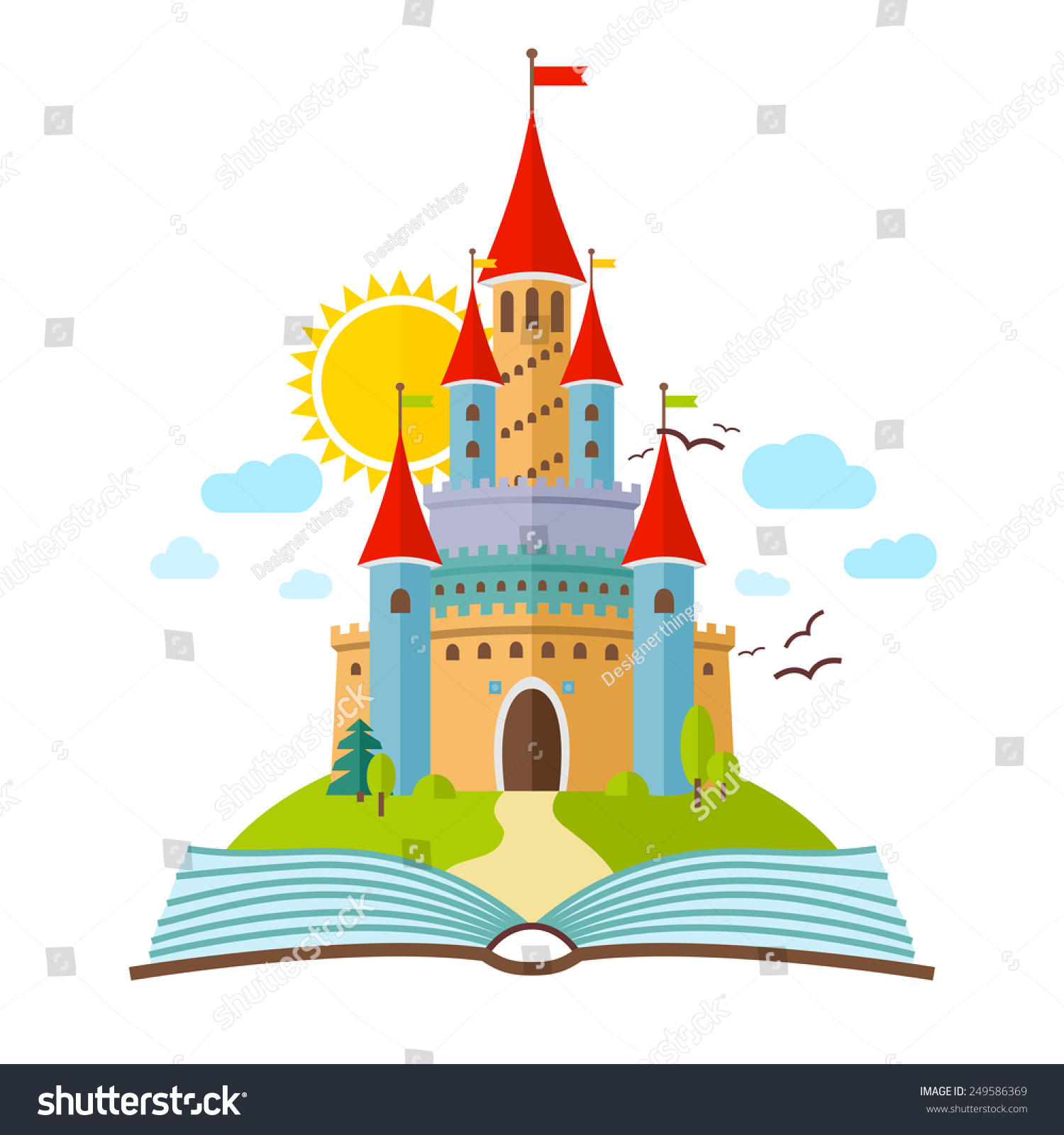 Fairytale Castle Vector Flat Child Illustration Stock Vector ...