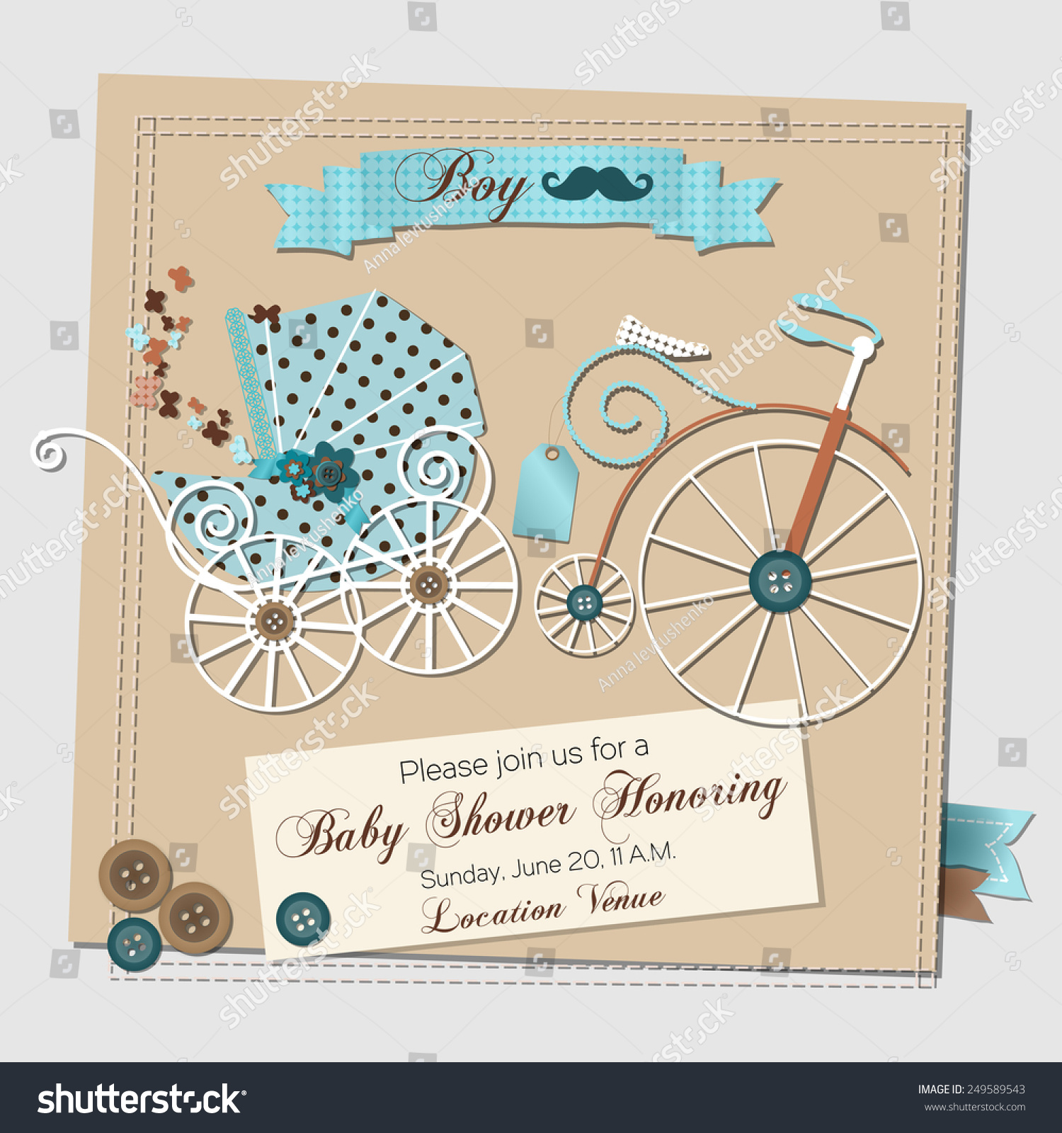Baby Shower Invitation Template Vector Illustration Stock Vector ...