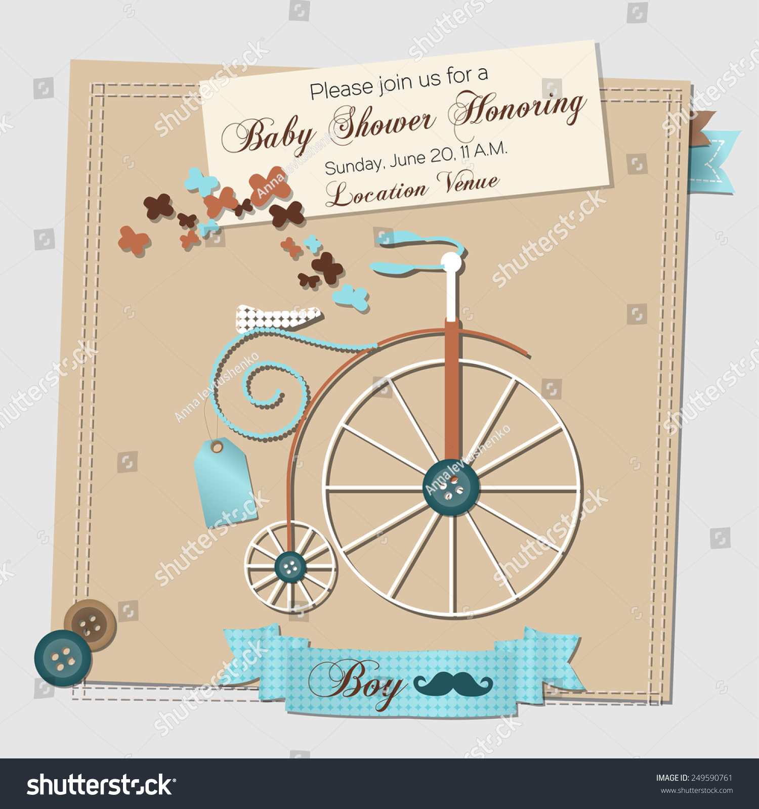 Baby shower invitation template vector illustration stock vector baby shower invitation template vector illustration with a vintage bicycle filmwisefo