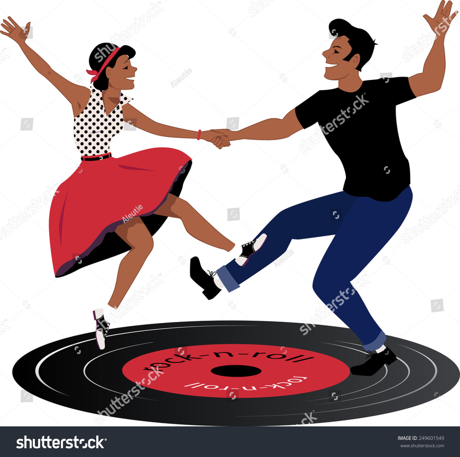 rockabilly couple dancing on vinyl rock stock vector. Black Bedroom Furniture Sets. Home Design Ideas